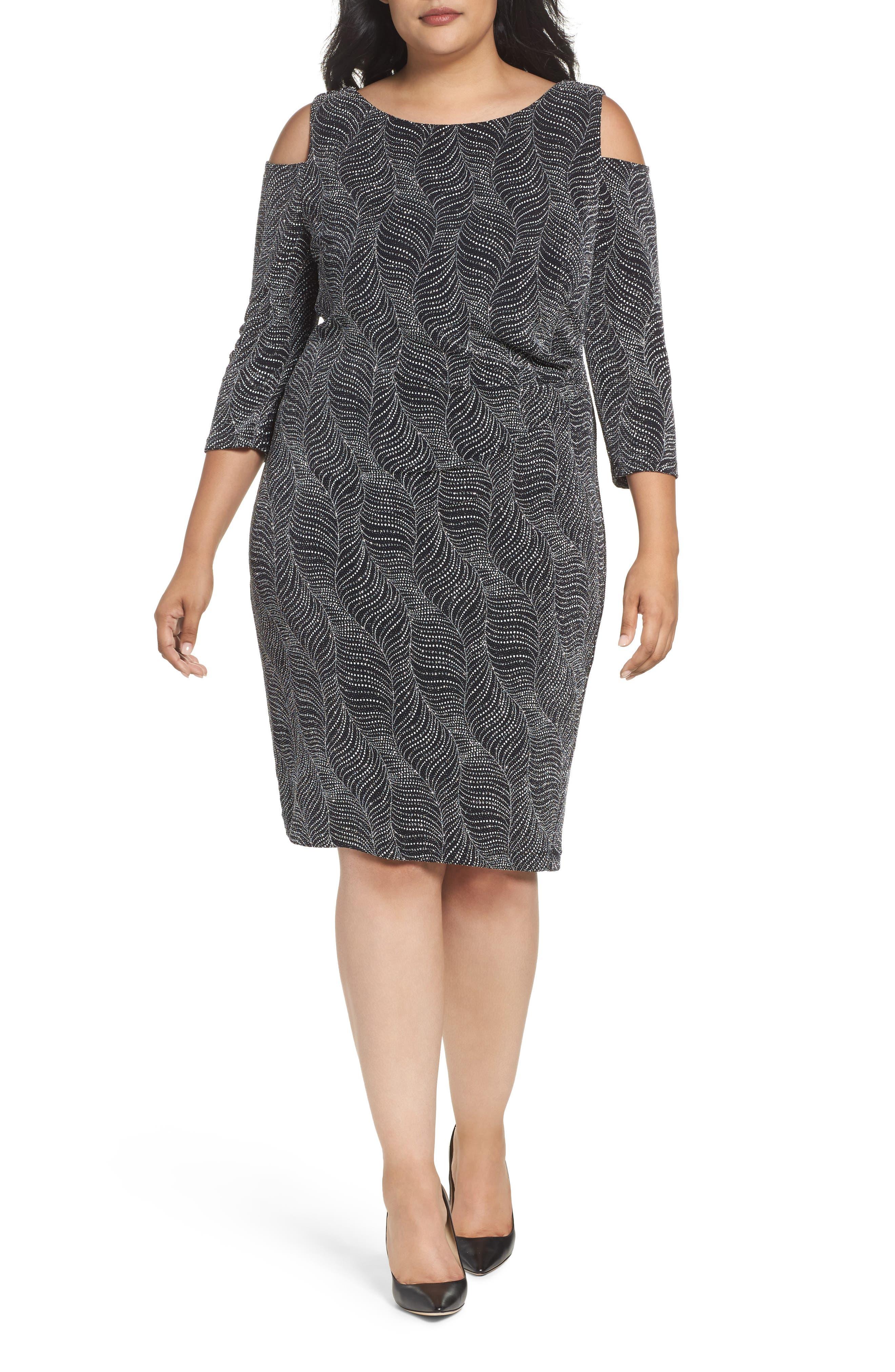 Cold Shoulder Glitter Knit Sheath Dress,                         Main,                         color, Black/ Silver