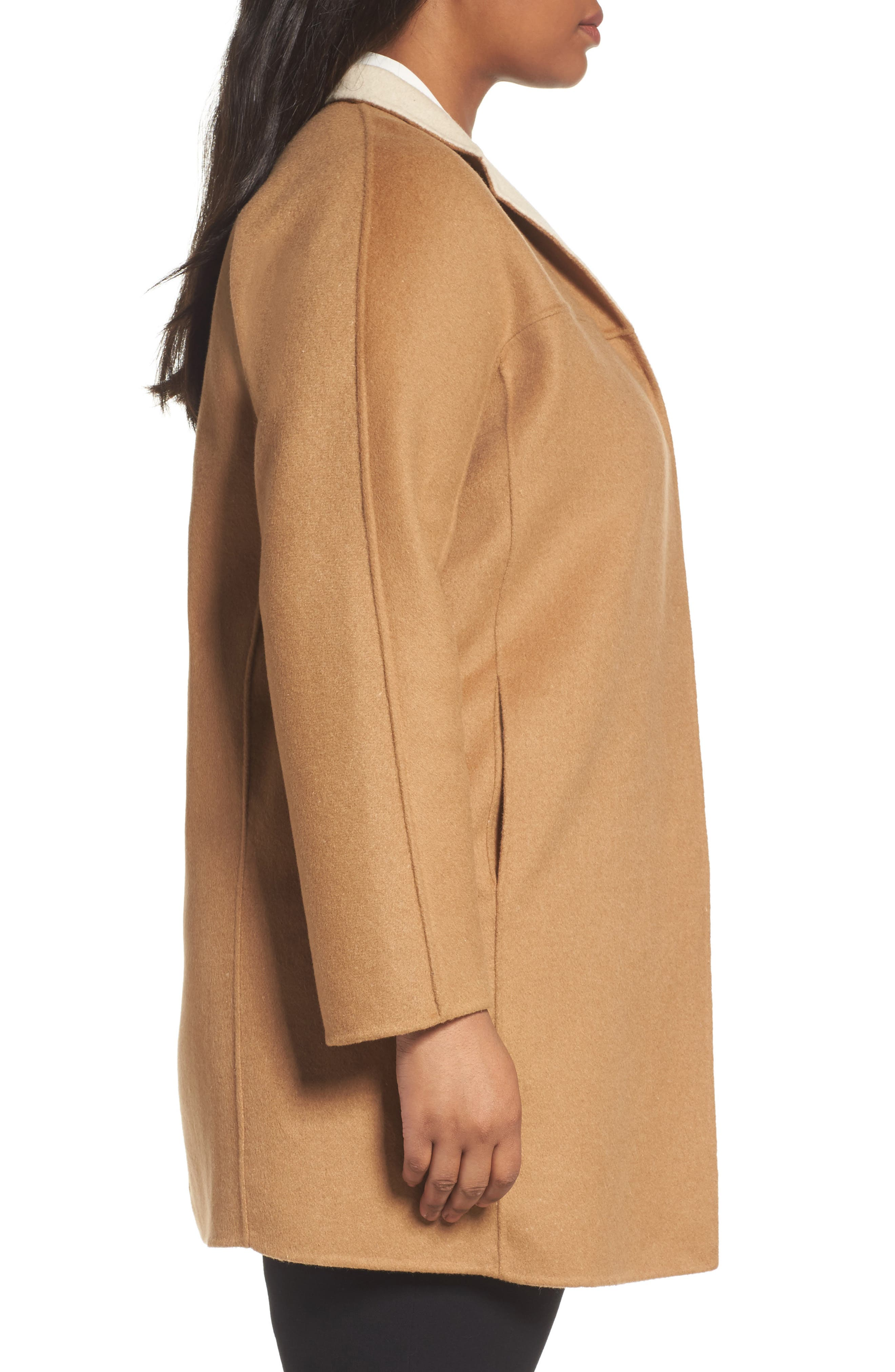 Nina Double Face Wool Blend Coat,                             Alternate thumbnail 3, color,                             Hazelnut