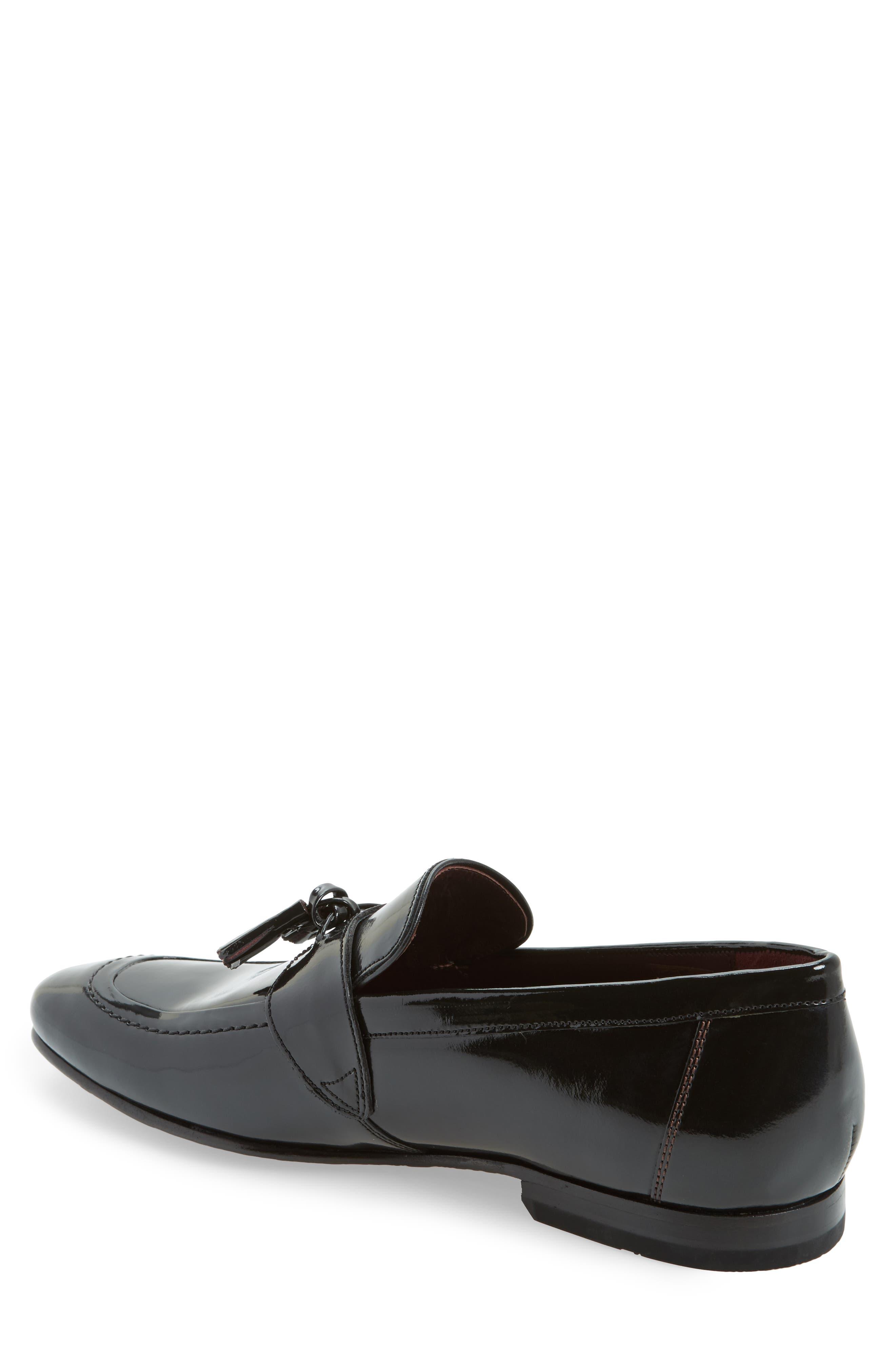 Grafit Tassel Loafer,                             Alternate thumbnail 2, color,                             Black Patent Leather