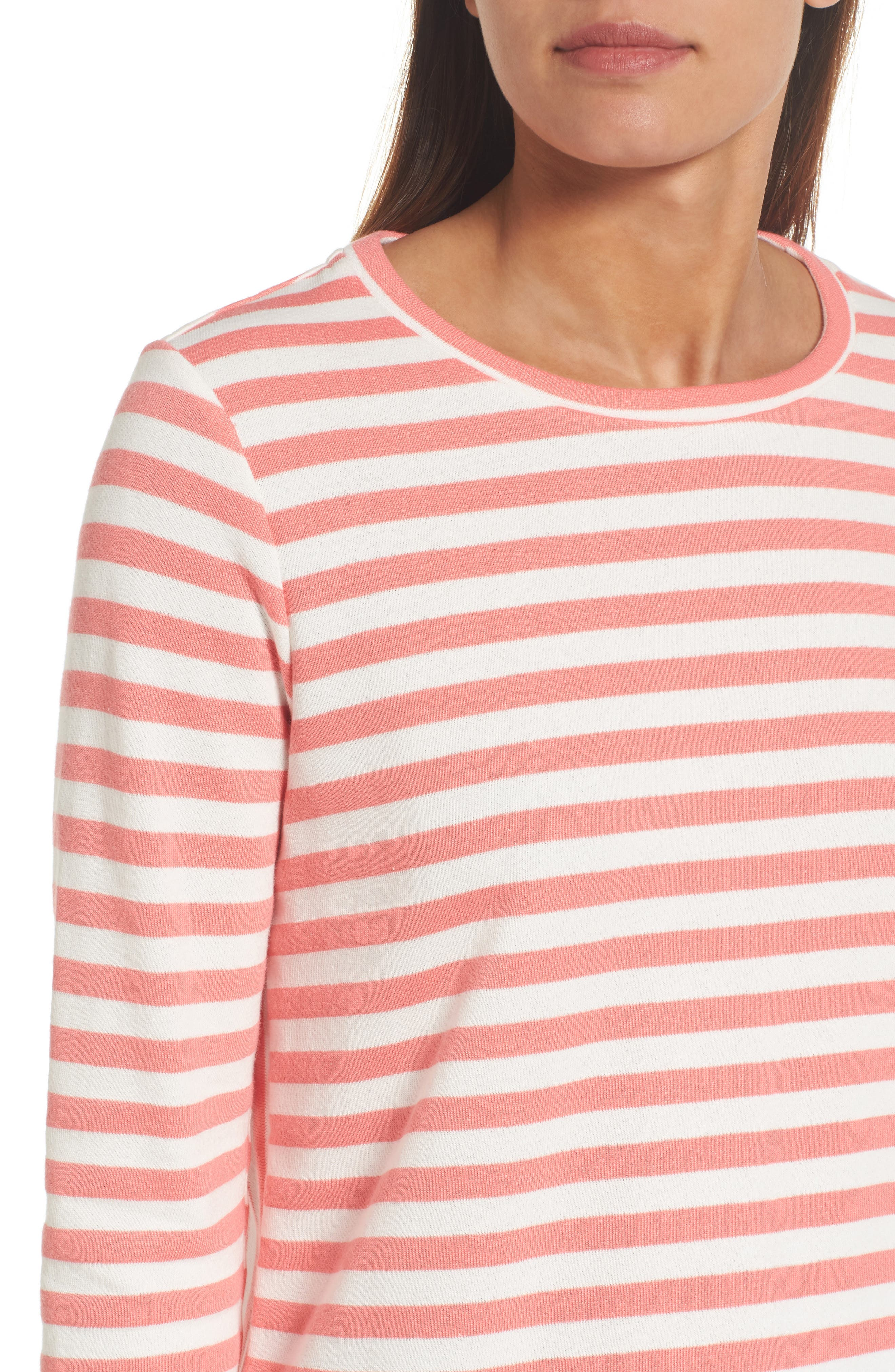 Halogen High/Low Cross Back Sweatshirt,                             Alternate thumbnail 4, color,                             Coral Sugar- White Stripe