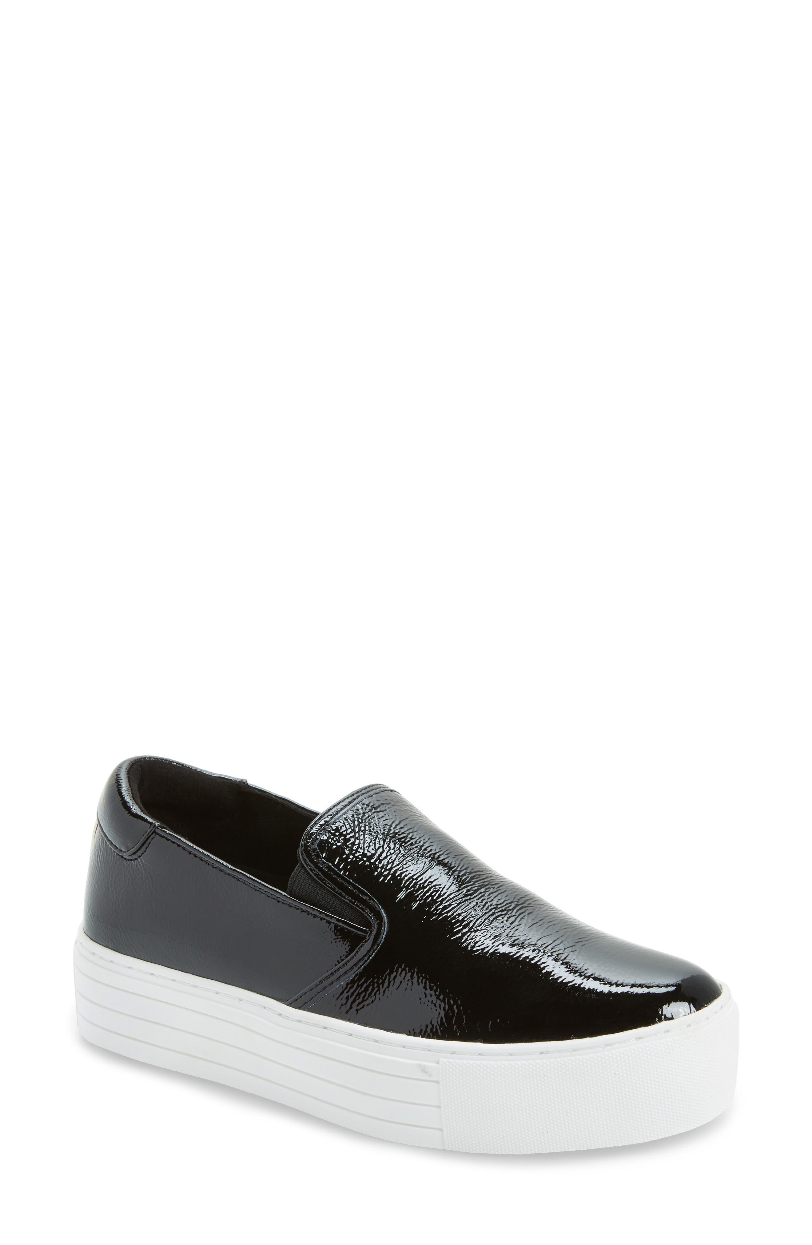 Joanie Slip-On Platform Sneaker,                             Main thumbnail 1, color,                             Black Patent Leather