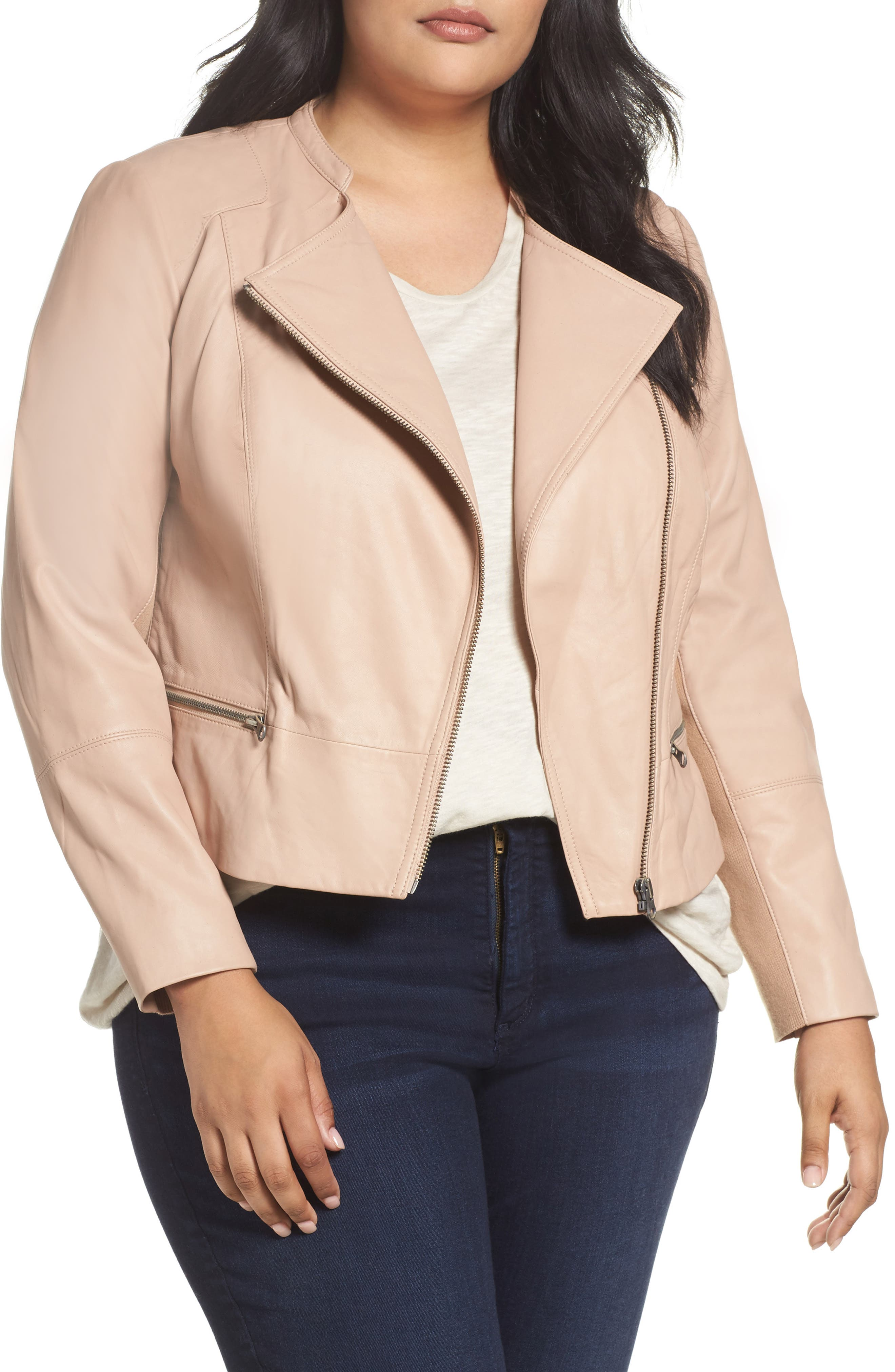 Sejour Leather Moto Jacket (Plus Size)
