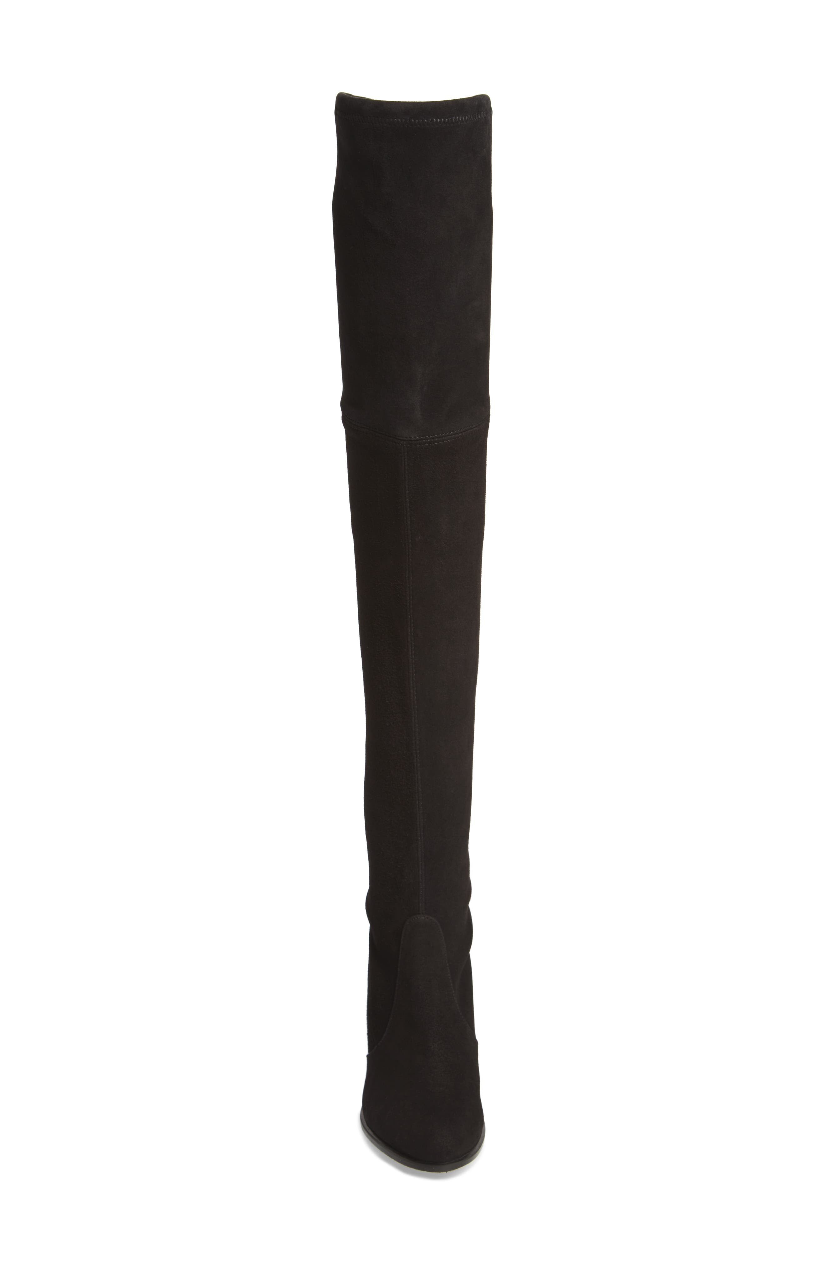 Hiline Over the Knee Boot,                             Alternate thumbnail 4, color,                             Black Suede