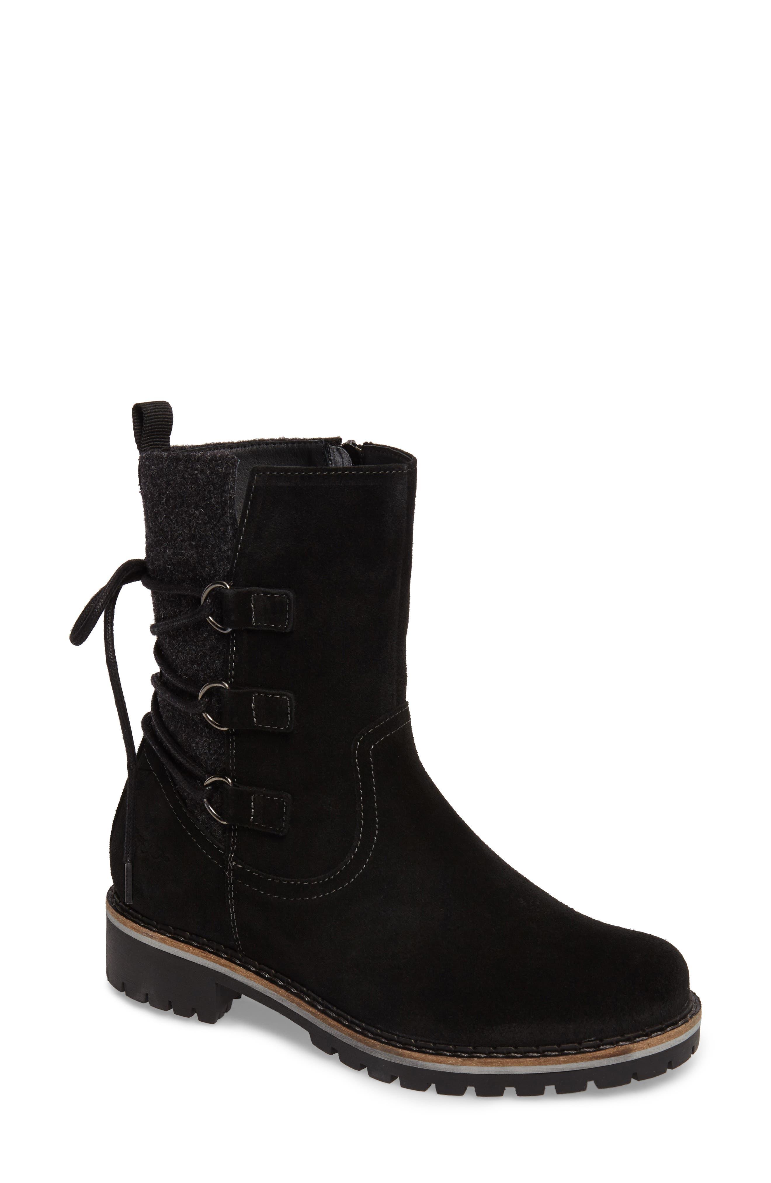 Cascade Waterproof Boot,                         Main,                         color, Black/ Grey Suede