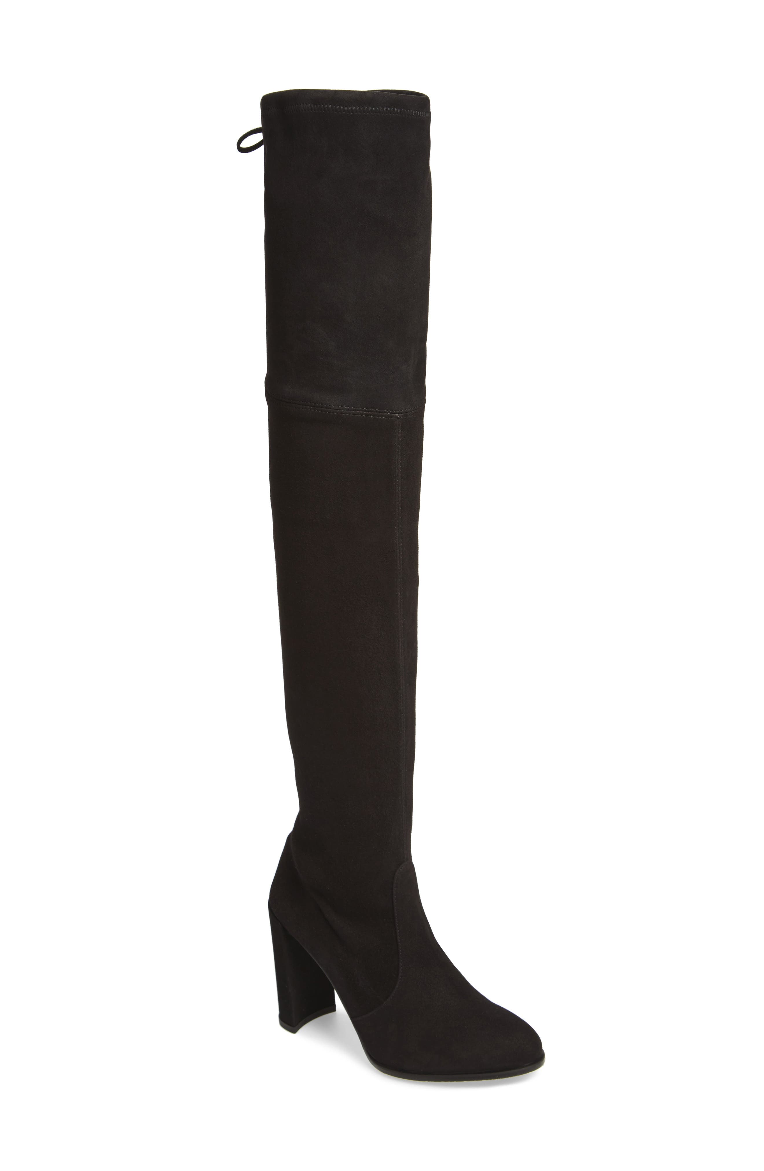 Hiline Over the Knee Boot,                             Main thumbnail 1, color,                             Black Suede