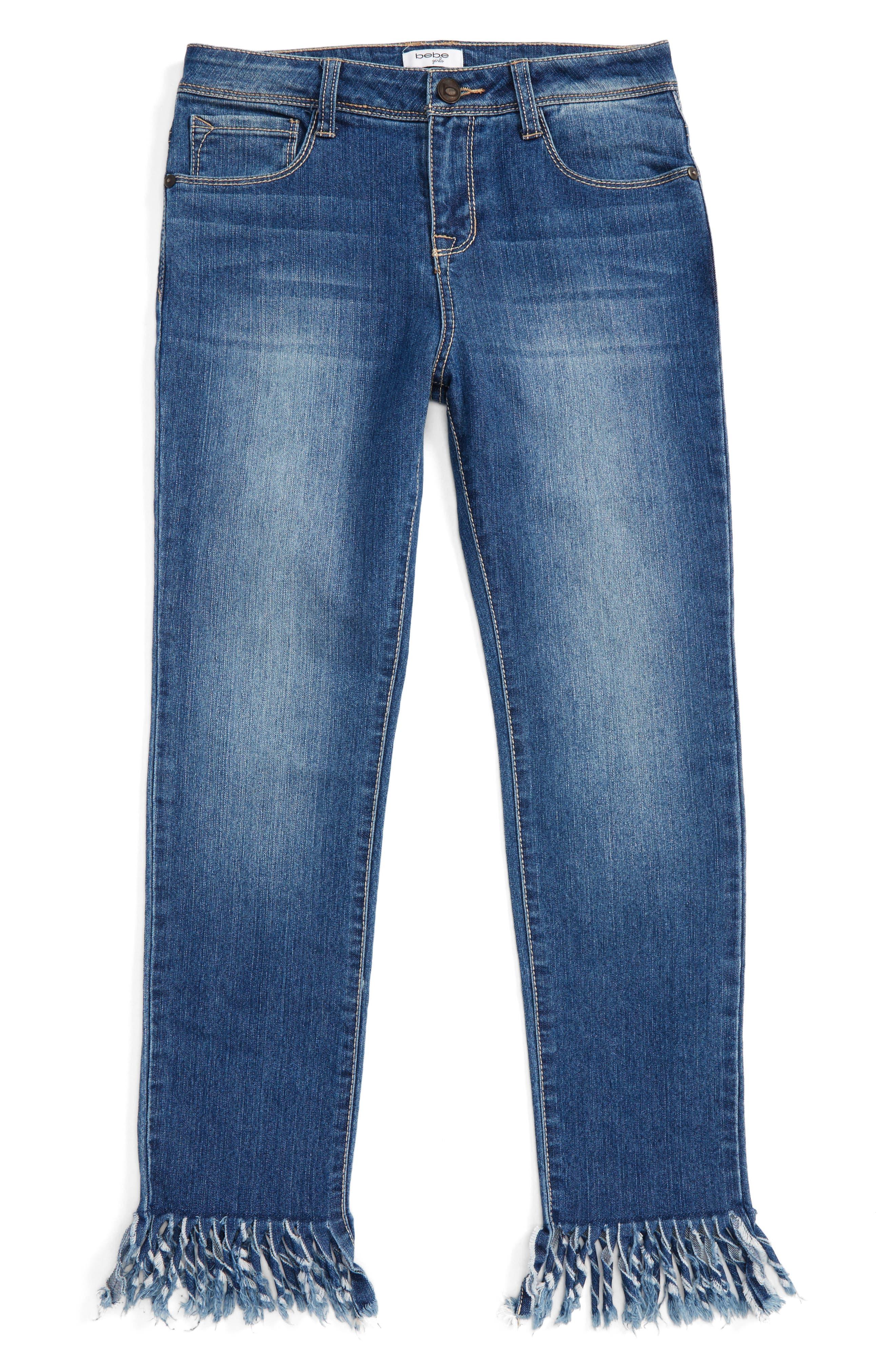Fringe Jeans,                         Main,                         color, Med Stone