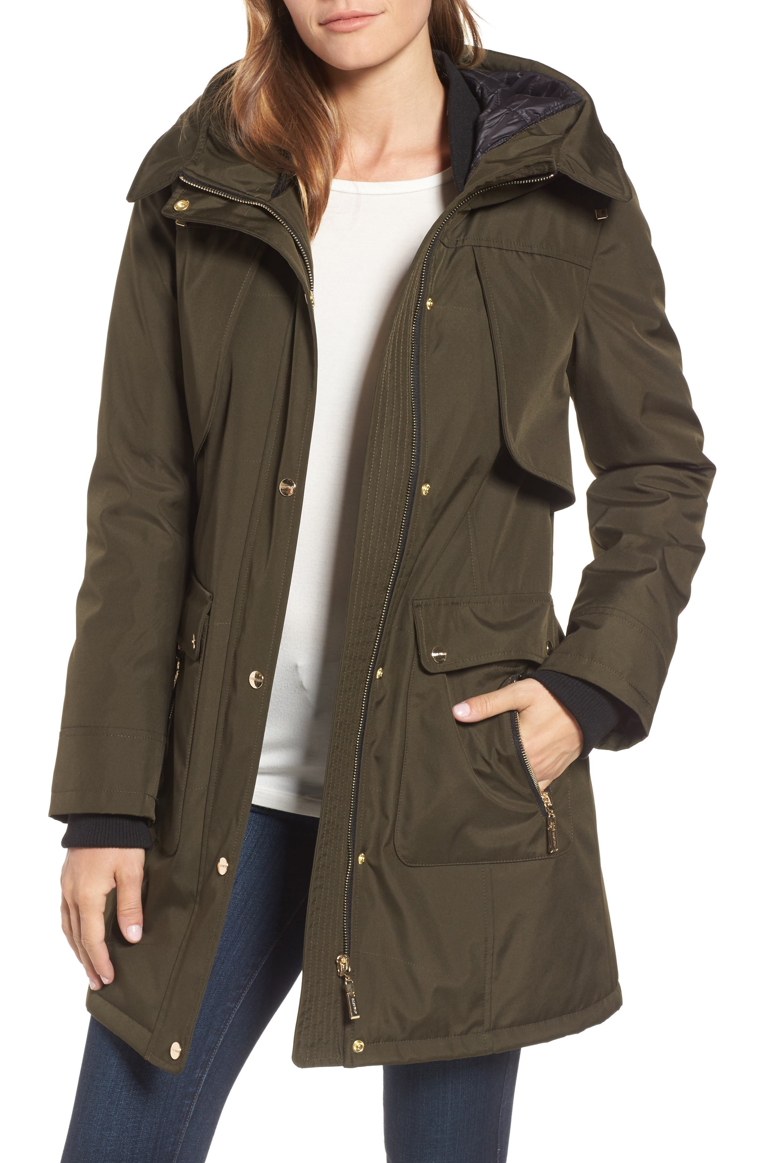 Main Image - Ellen Tracy Quilted Techno Parka (Regular & Petite)