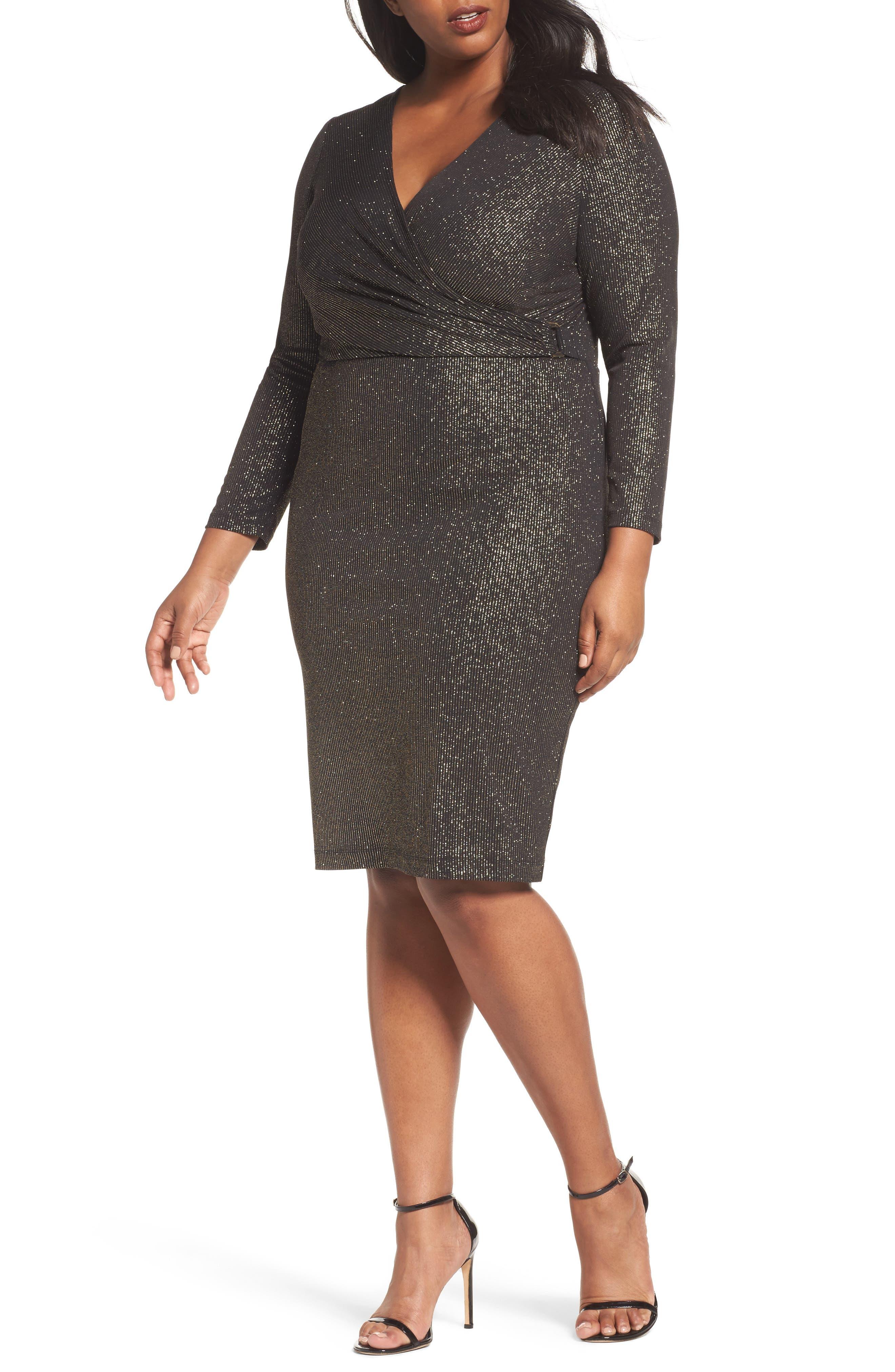 Sangria Metallic Faux Wrap Dress (Plus Size)