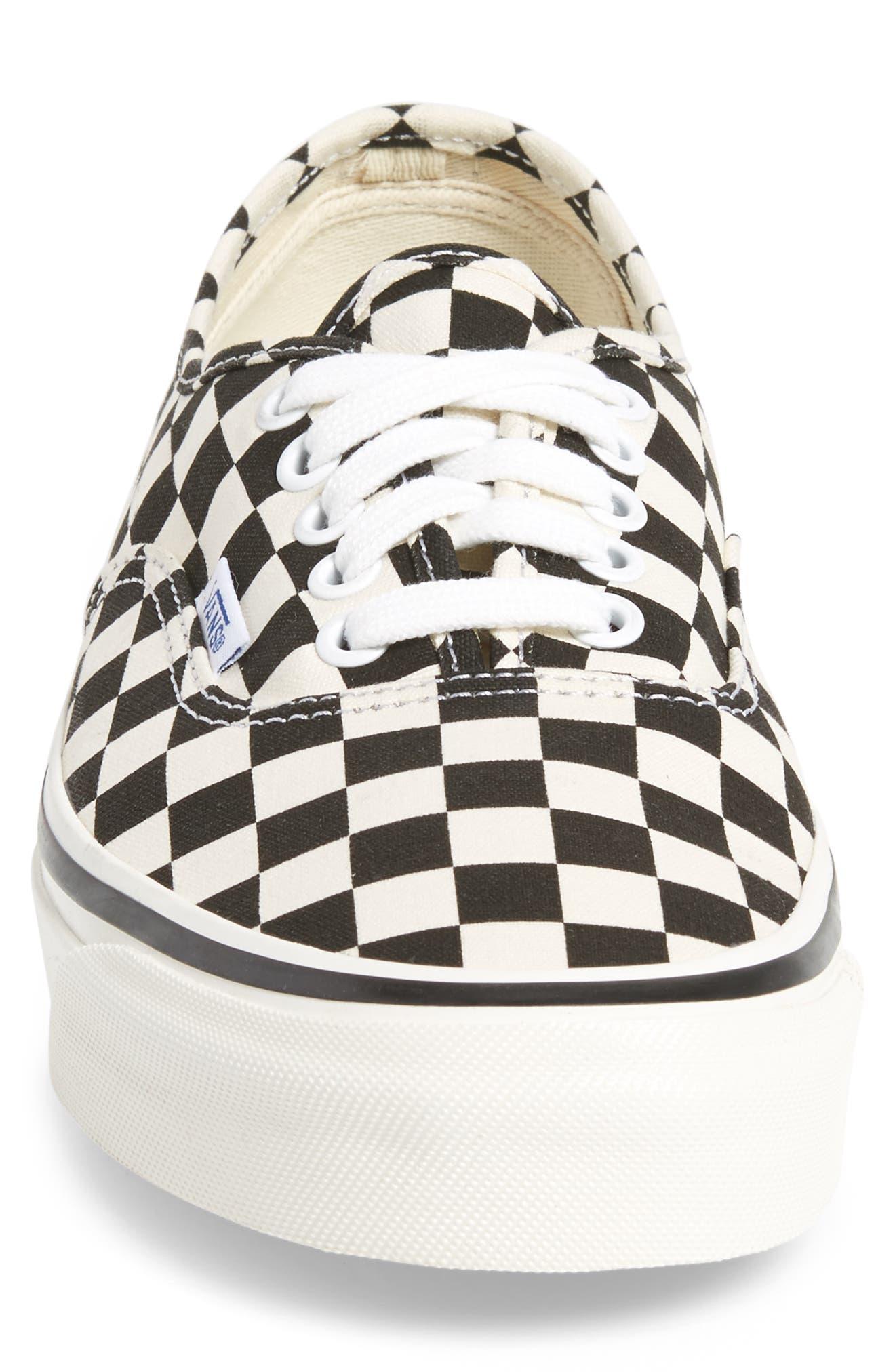 UA Authentic 44 DX Sneaker,                             Alternate thumbnail 4, color,                             Black/ Check Canvas