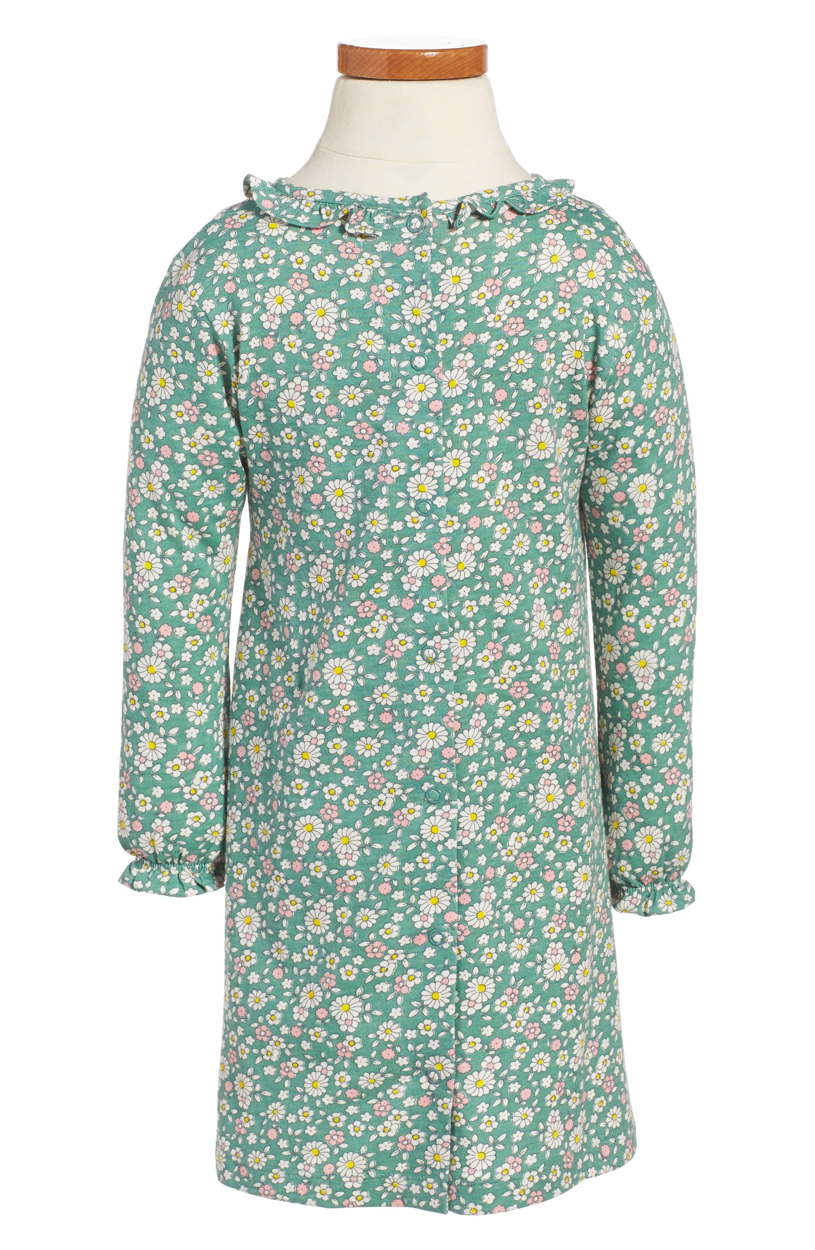 Pretty Print Jersey Dress,                             Alternate thumbnail 2, color,                             Green Vintage Daisy