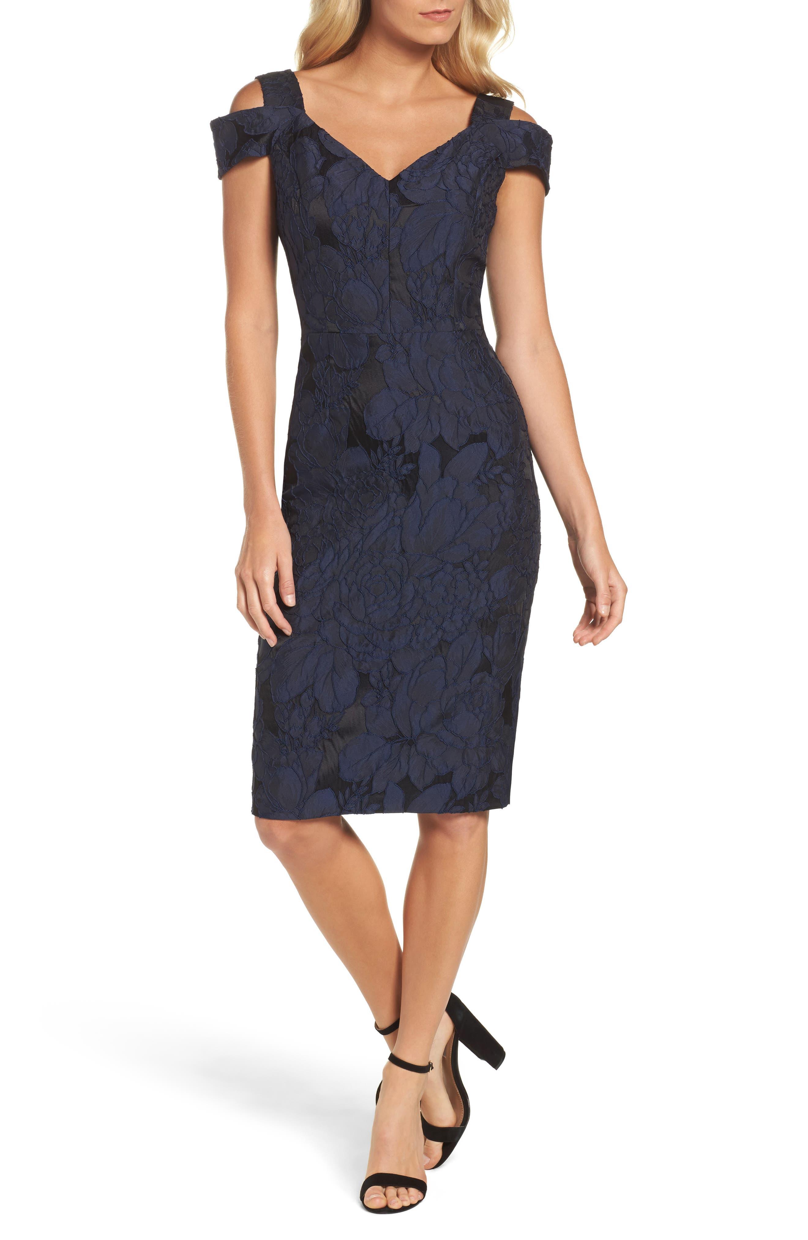 Main Image - Maggy London Floral Jacquard Cold Shoulder Sheath Dress