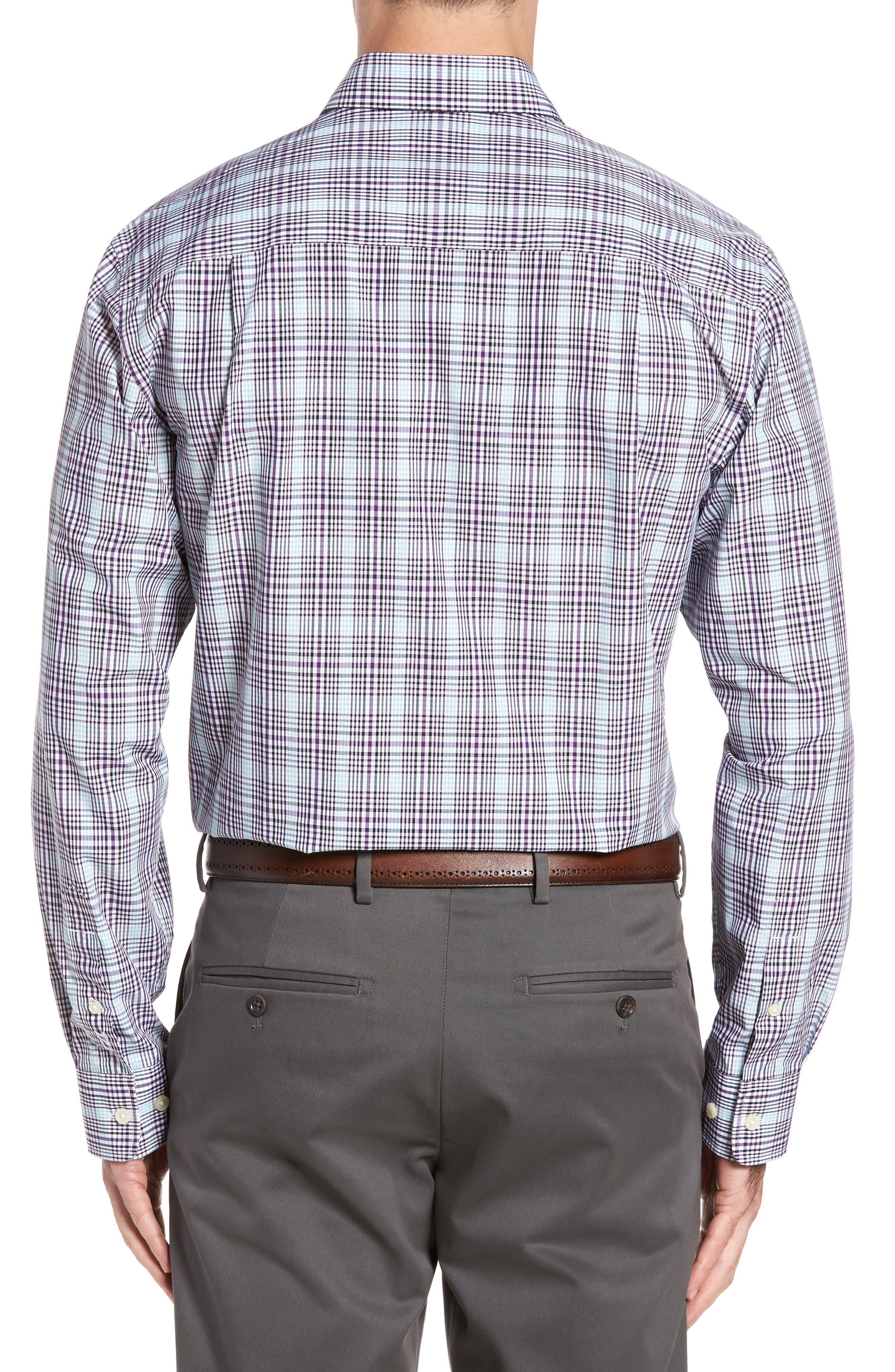 Hoyt Non-Iron Plaid Sport Shirt,                             Alternate thumbnail 2, color,                             Majesty