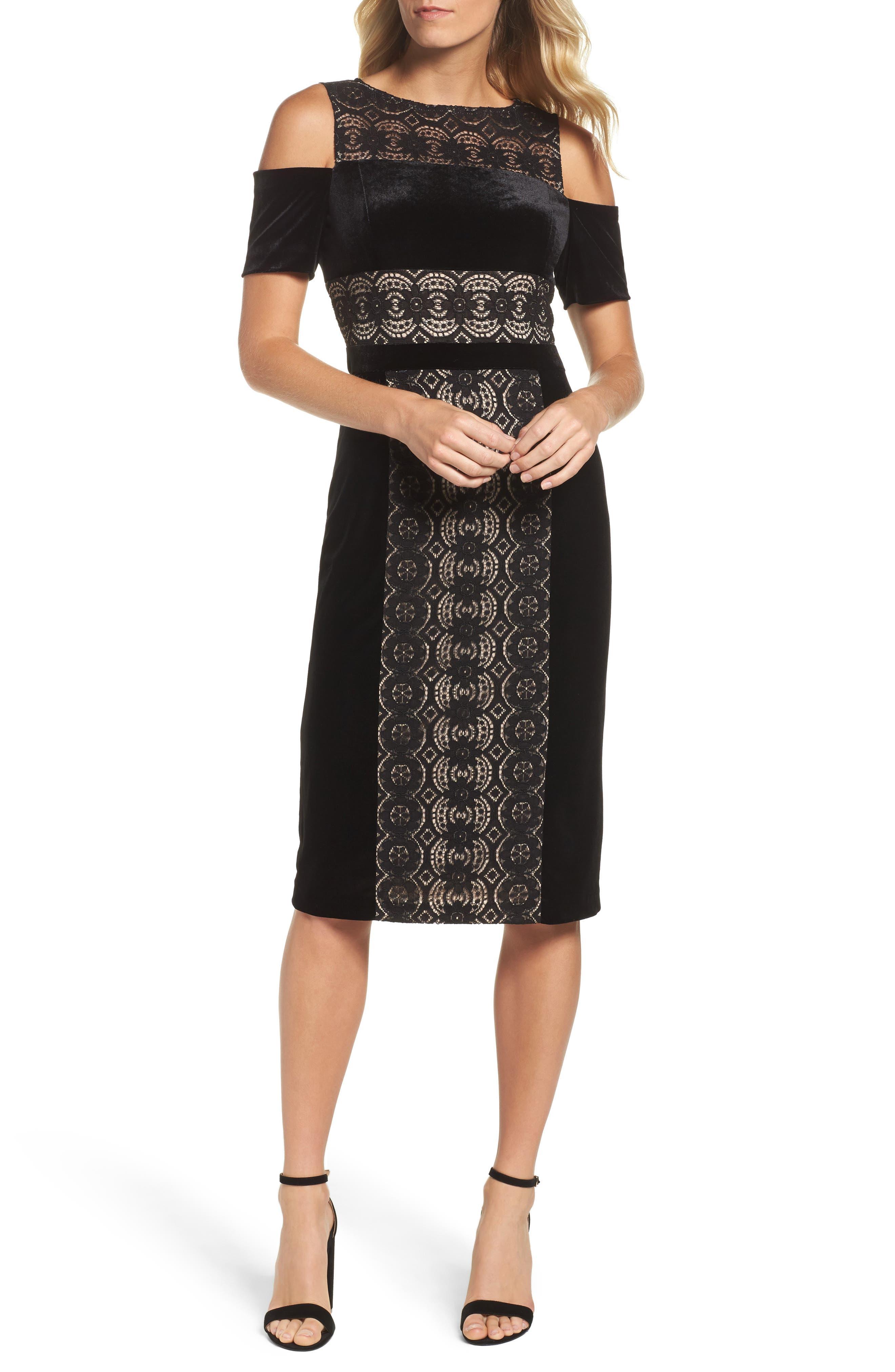 Maggy London Velvet & Lace Cold Shoulder Sheath Dress