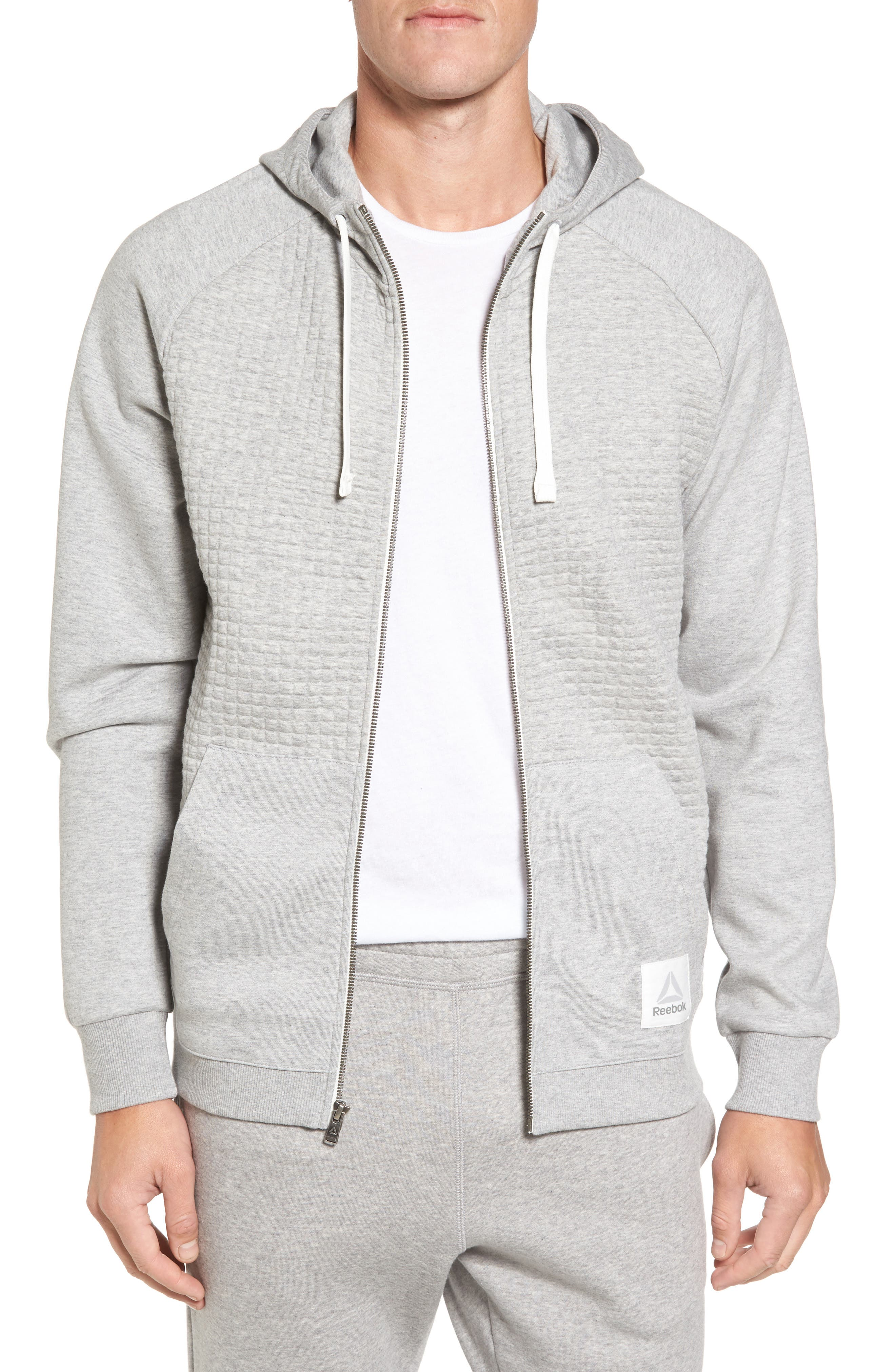 Classic Quilted Zip Hoodie,                             Main thumbnail 1, color,                             Medium Grey Heather