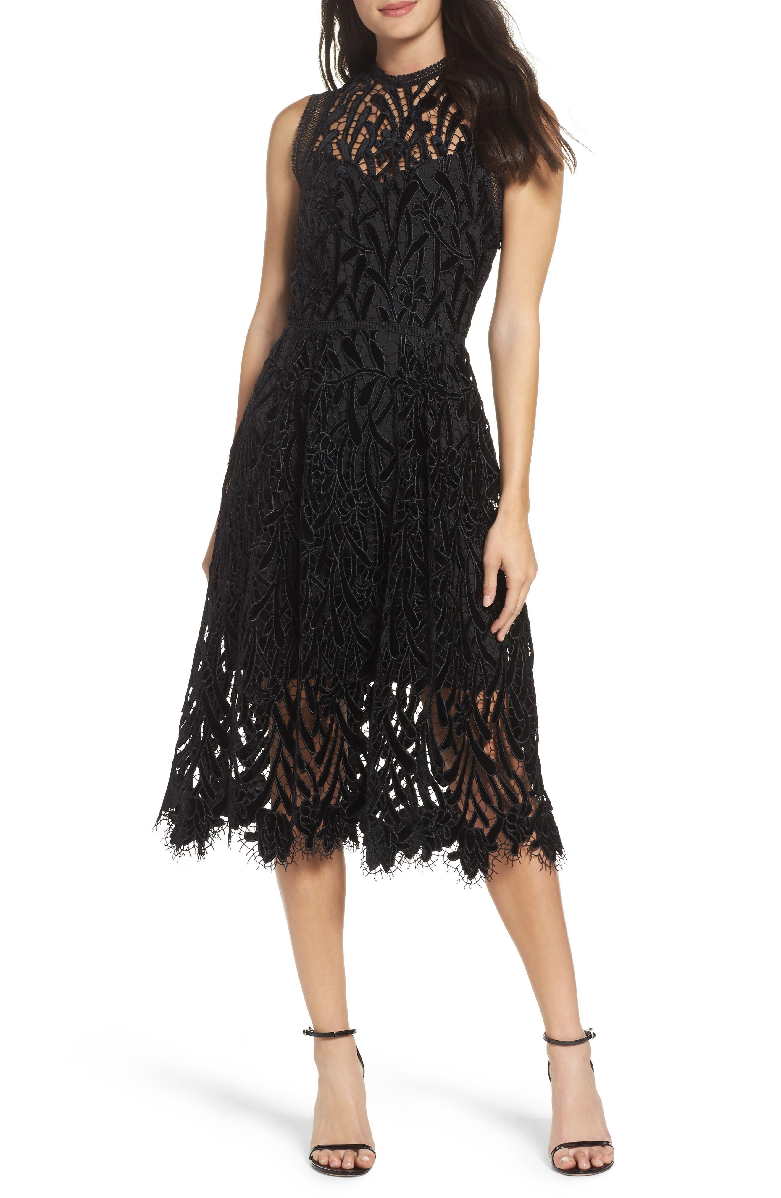 Shoshanna Glengarry Velvet Lace Dress
