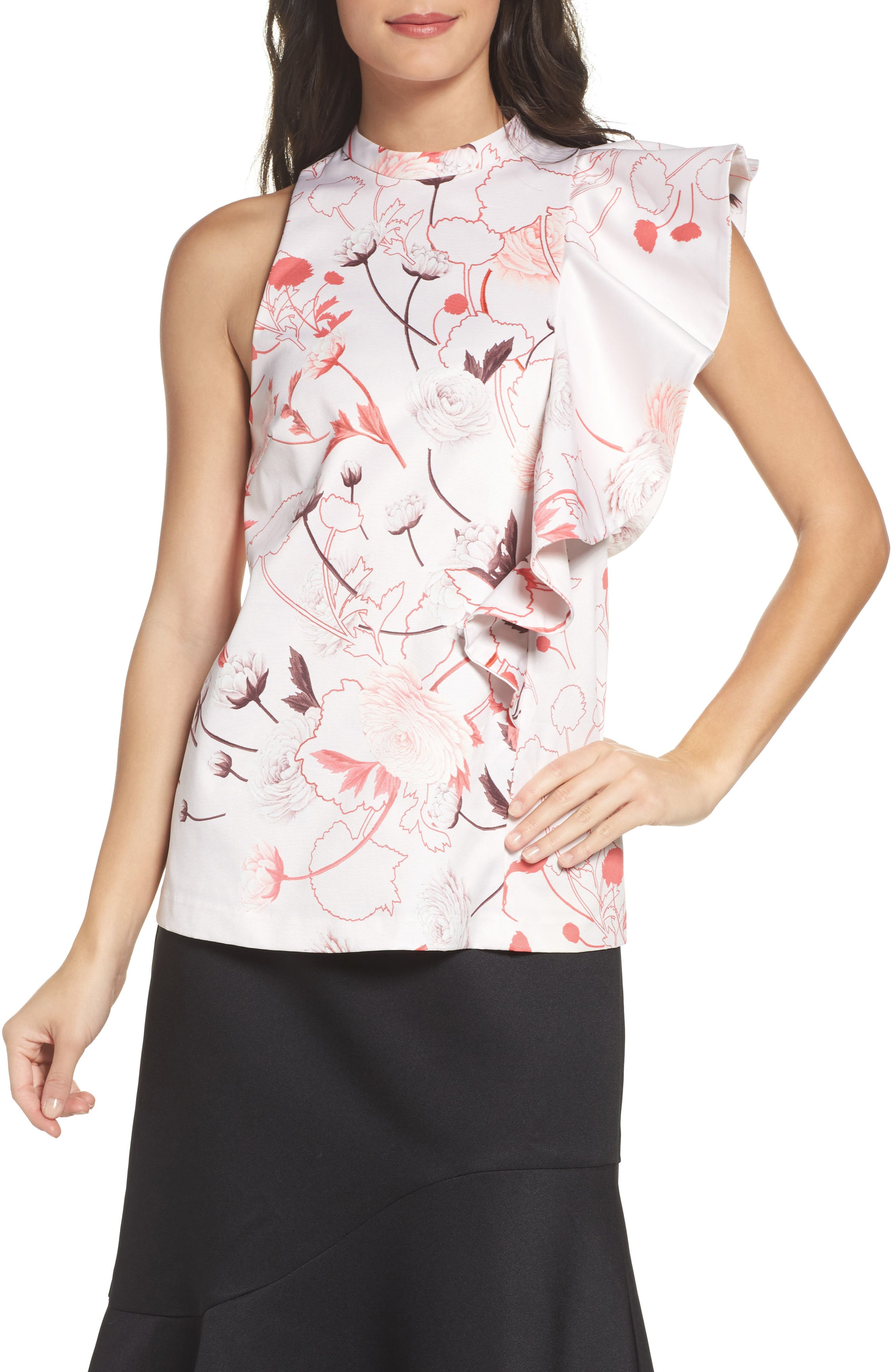 Amaya Ruffle Top,                         Main,                         color, Lace Print