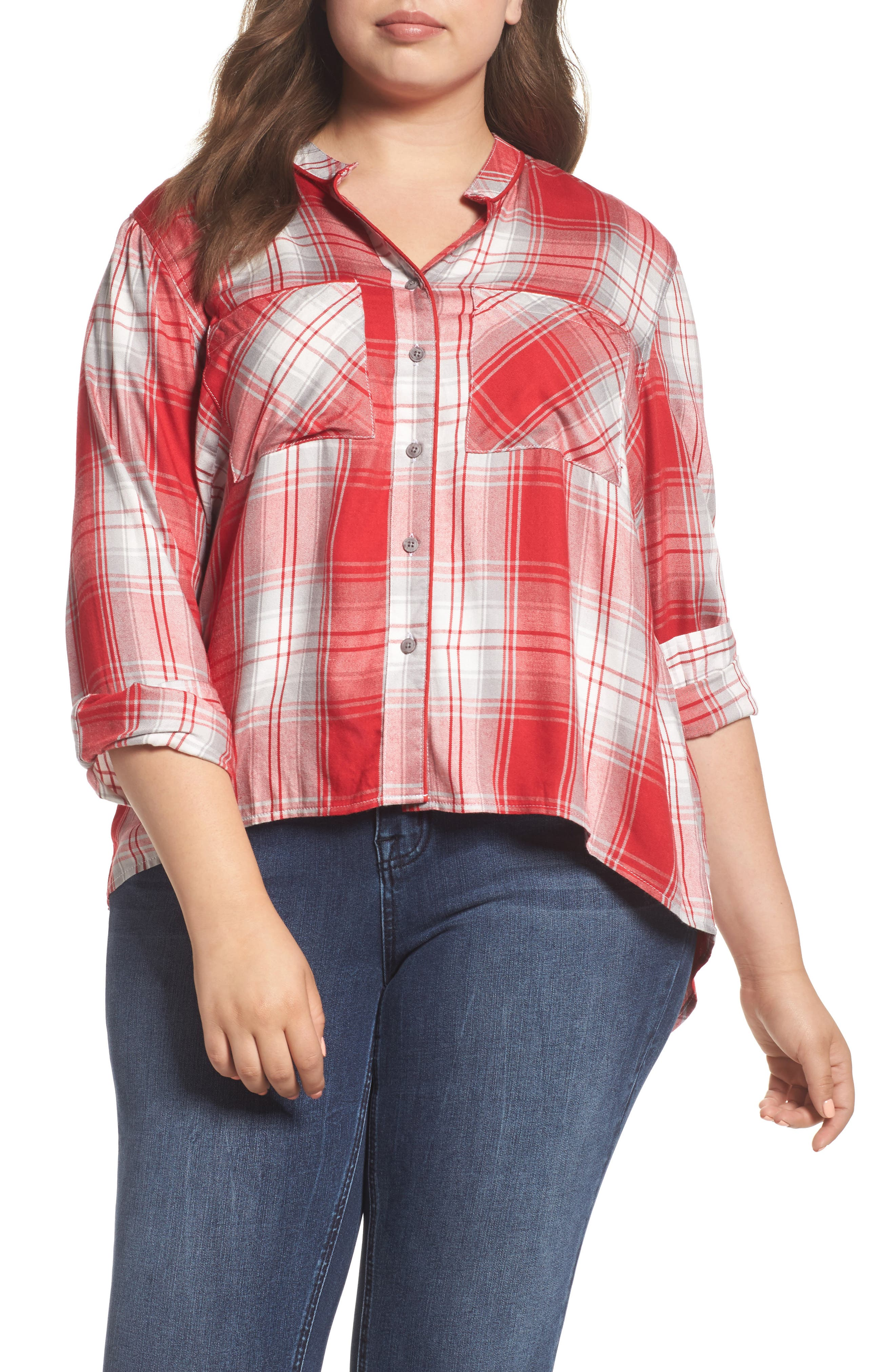 Plaid Shirt,                         Main,                         color, Haute Red/ Silver Sconce