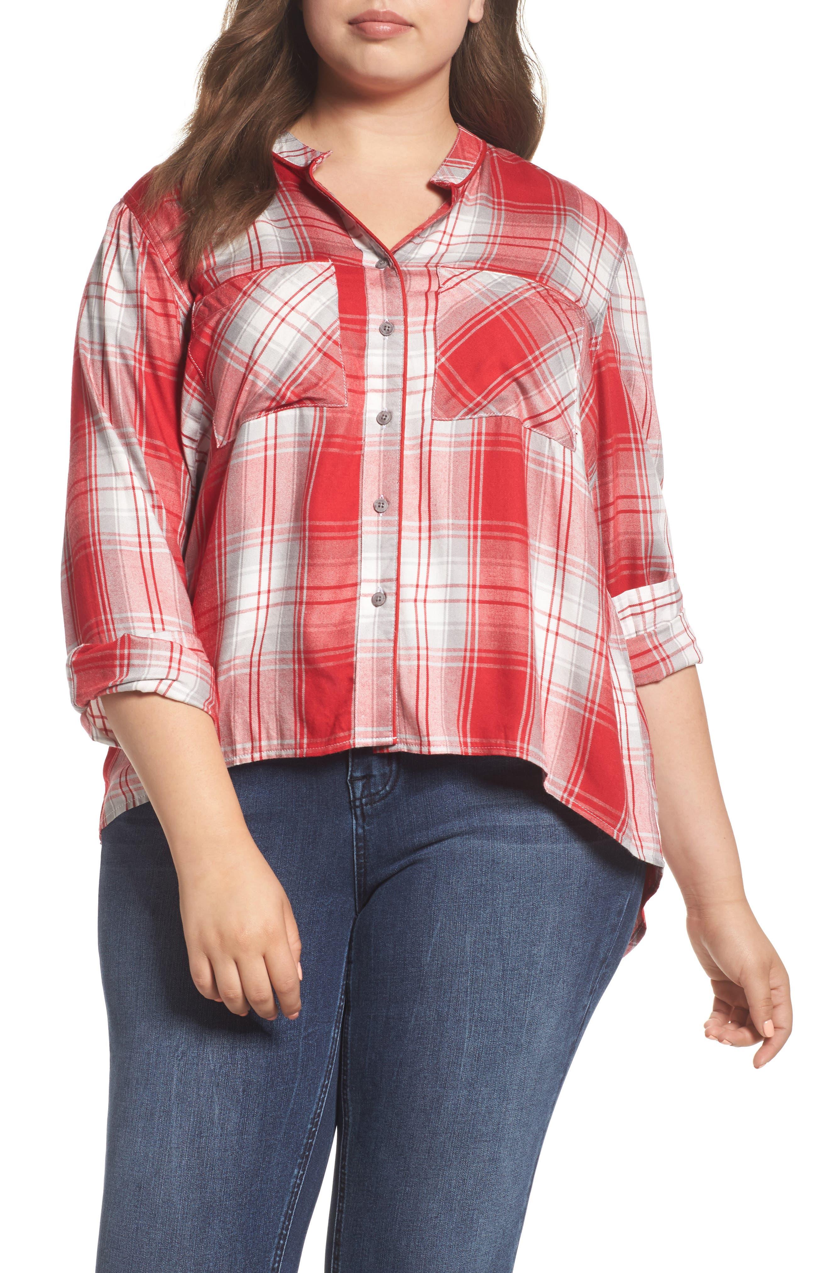 Melissa McCarthy Seven7 Plaid Shirt (Plus Size)