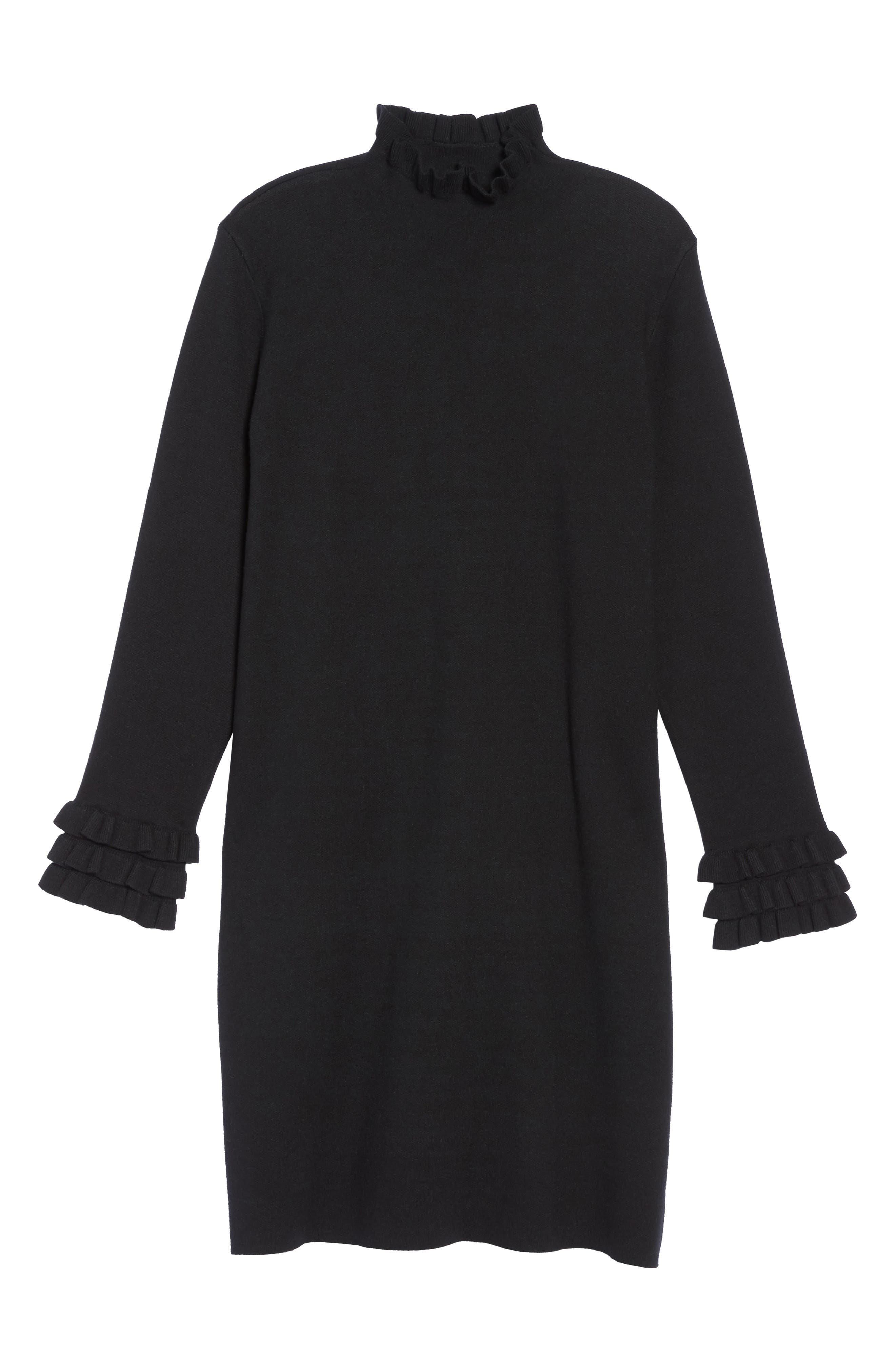Ruffle Sleeve Sweater Dress,                             Alternate thumbnail 6, color,                             Black