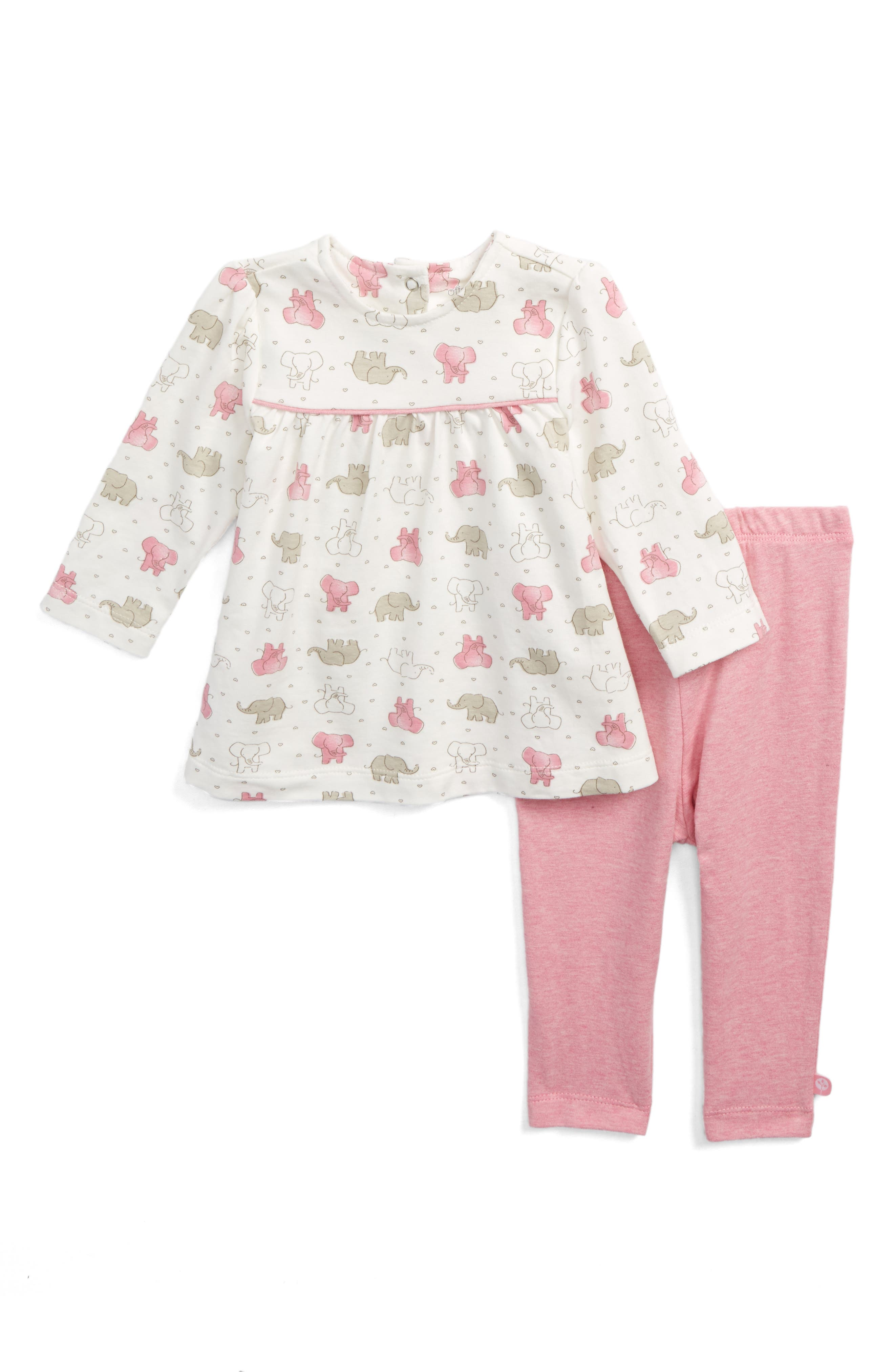 Pink Elephant Tunic & Leggings Set,                             Main thumbnail 1, color,                             Ivory Multi