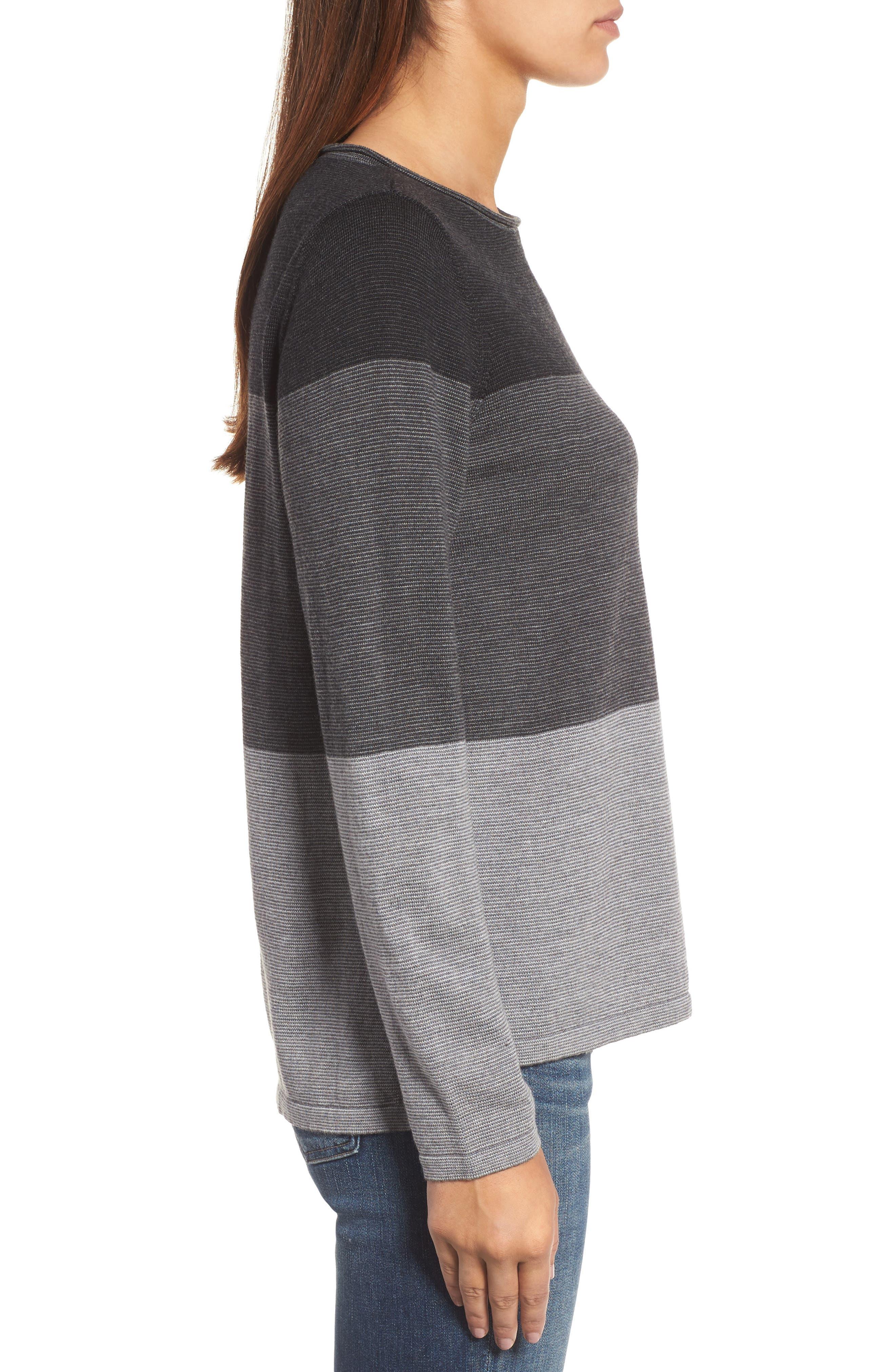 Alternate Image 3  - Eileen Fisher Bateau Neck Stripe Merino Wool Sweater