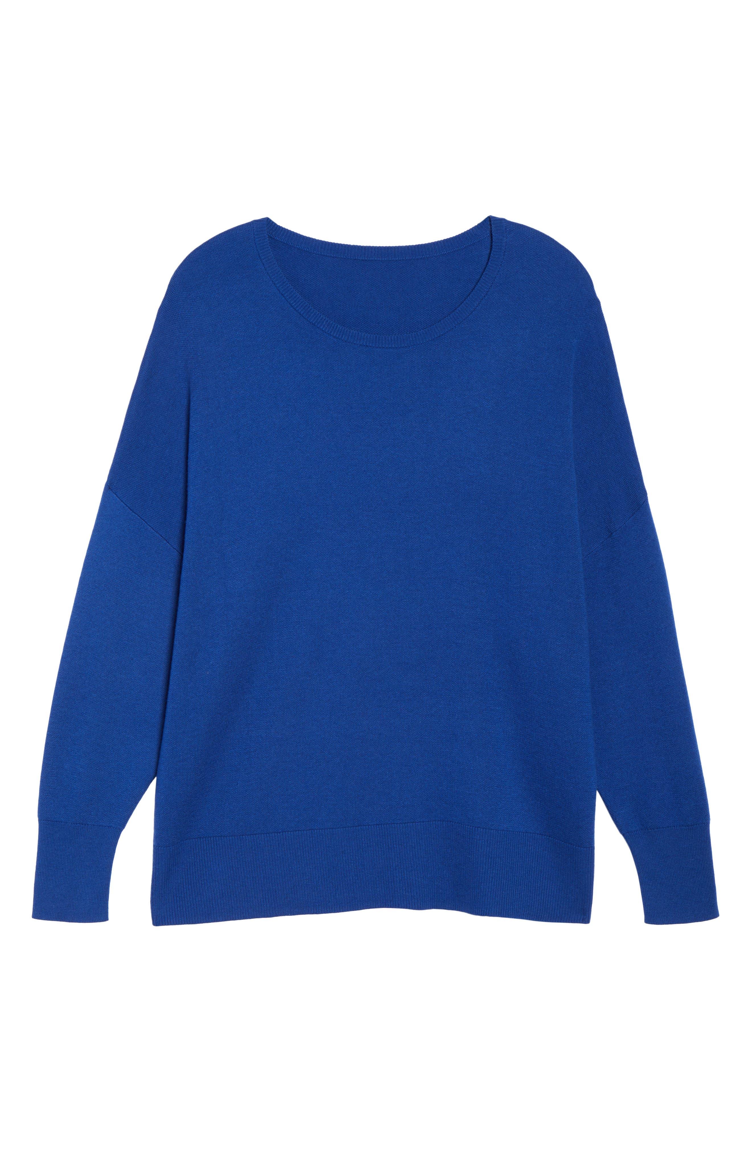Dolman Sleeve Crewneck Sweater,                             Alternate thumbnail 6, color,                             Blue Mazarine
