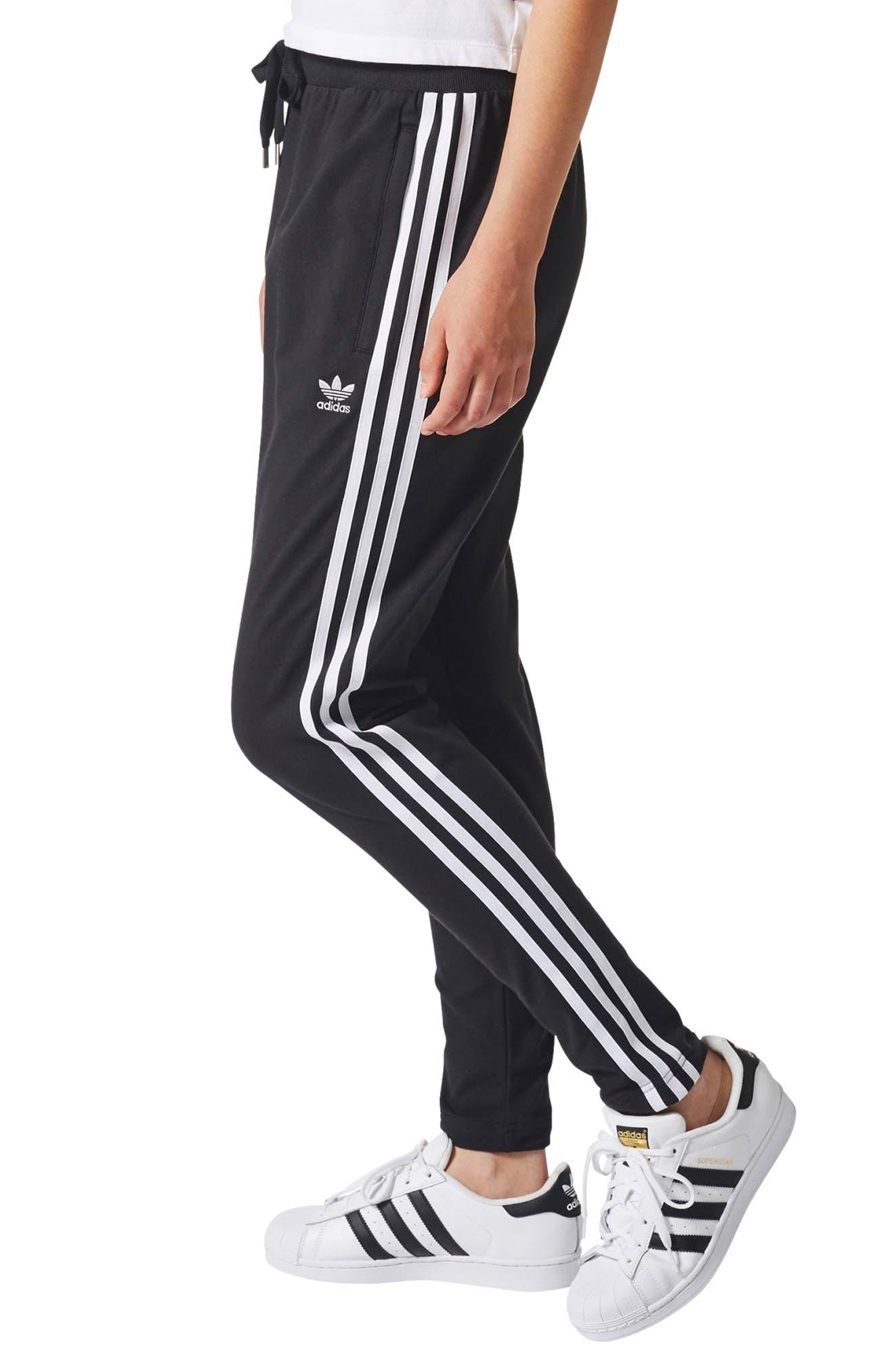 3-Stripes Tapered Pants,                             Alternate thumbnail 3, color,                             Black