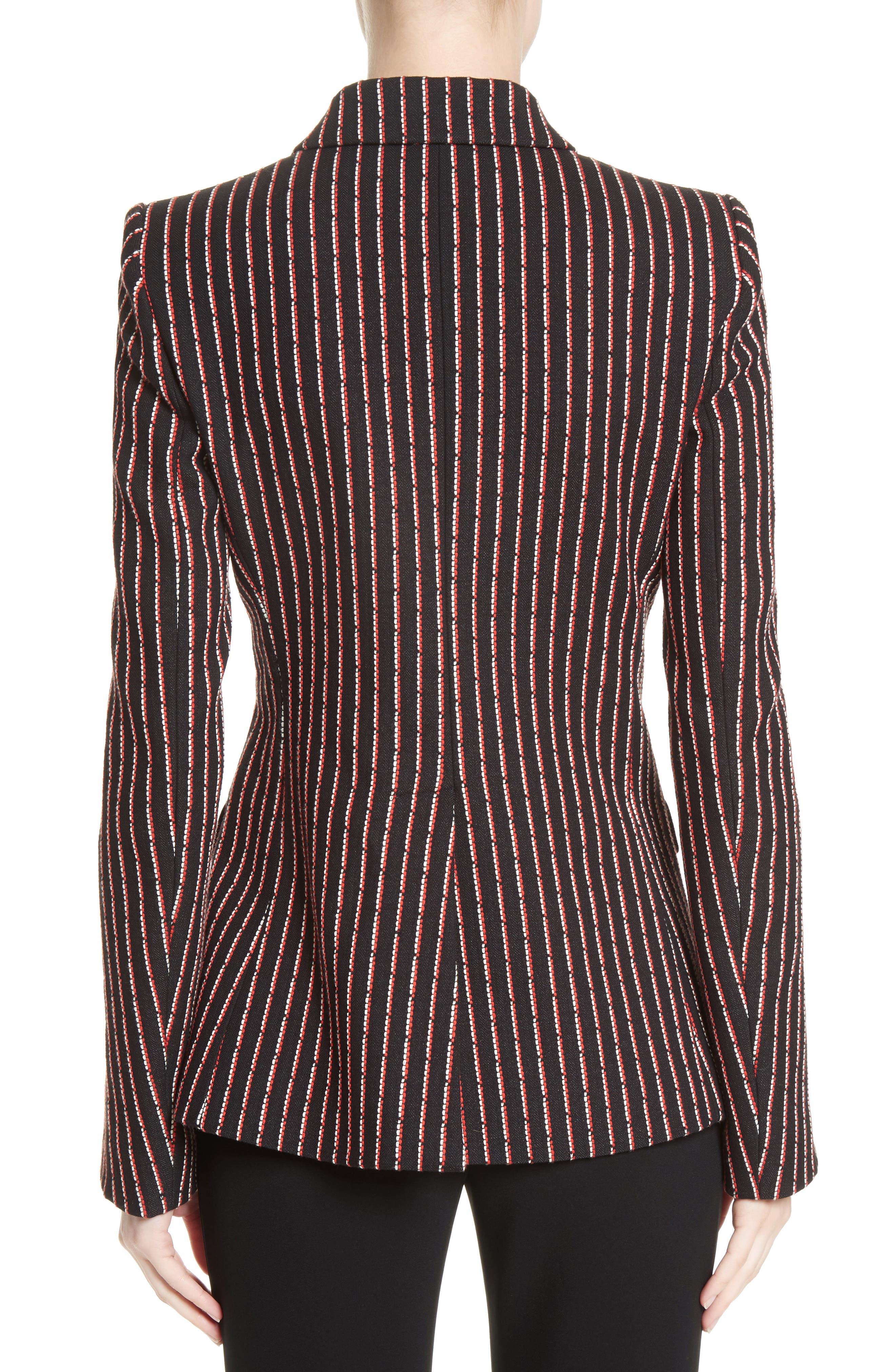 Pinstripe Double Breasted Blazer,                             Alternate thumbnail 2, color,                             Black White Persimmon
