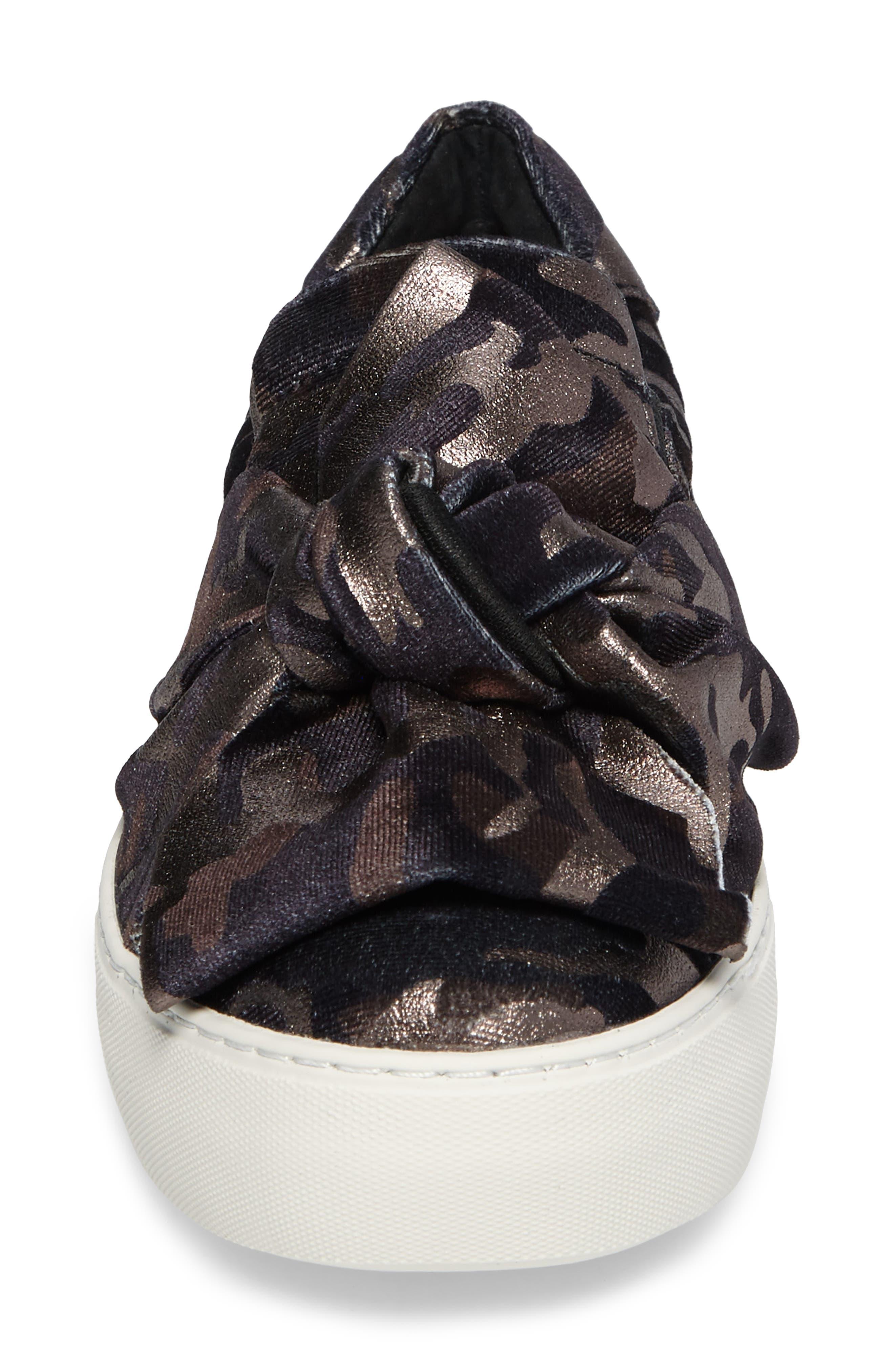 Audra Slip-On Sneaker,                             Alternate thumbnail 4, color,                             Black Camo Fabric