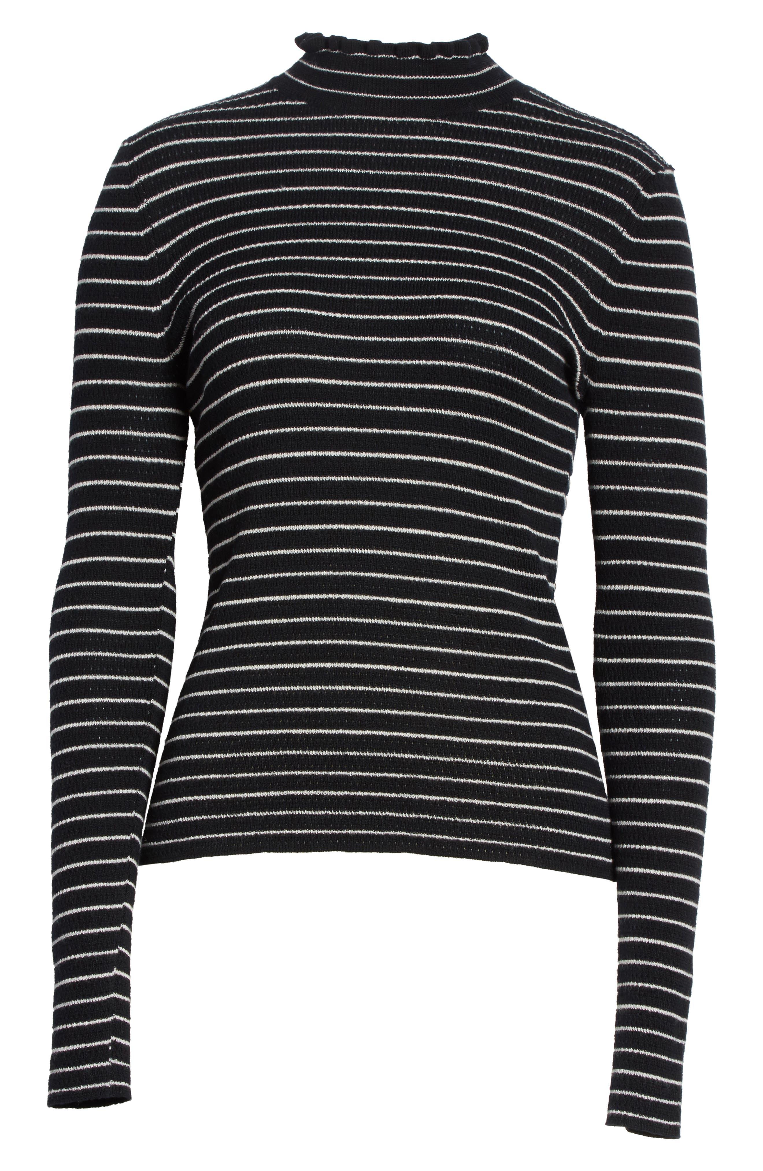 Merino Wool Pullover,                             Alternate thumbnail 6, color,                             Black Stripe