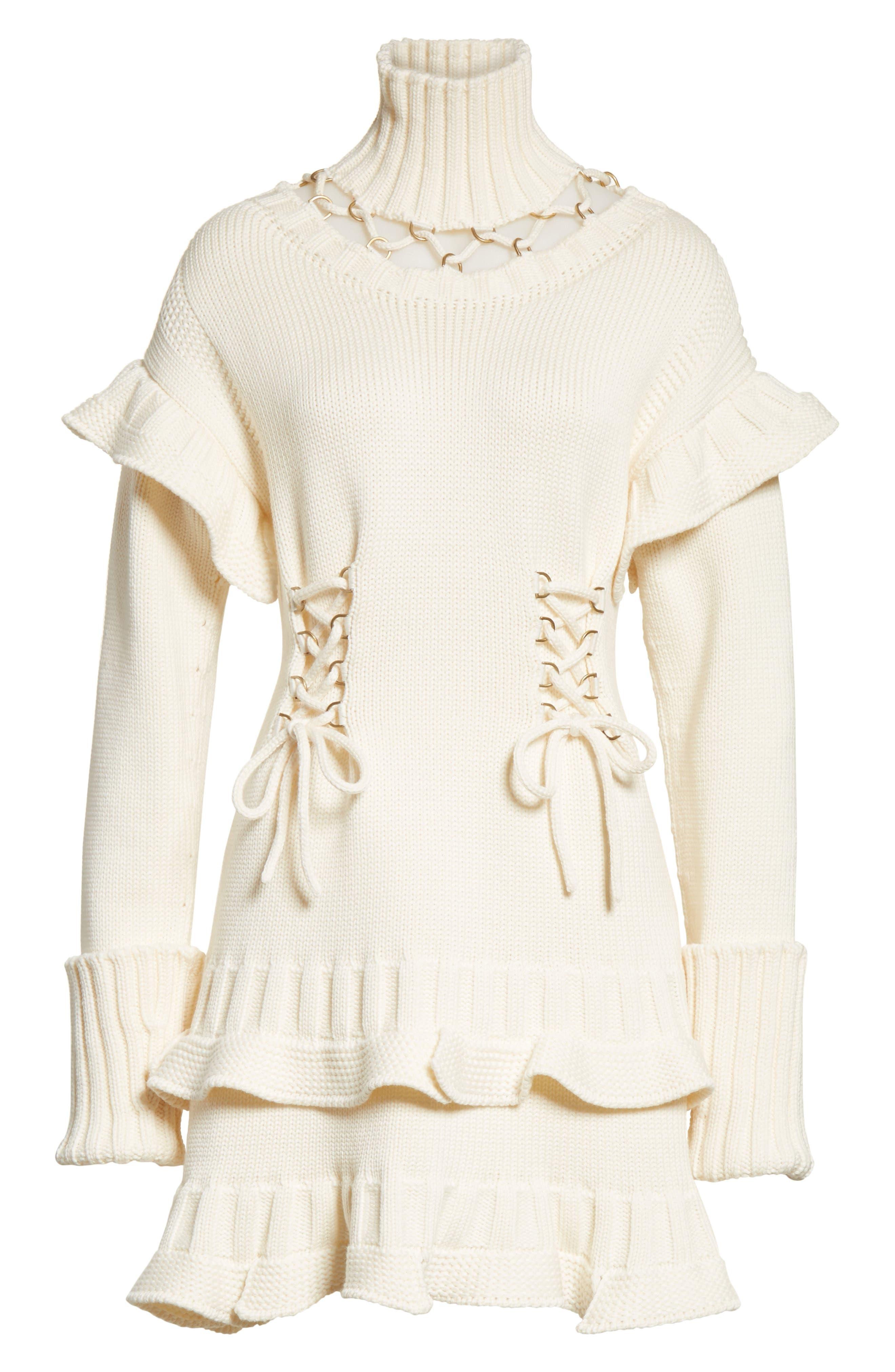 Lace-Up Turtleneck Sweater Dress,                             Alternate thumbnail 7, color,                             Ivory