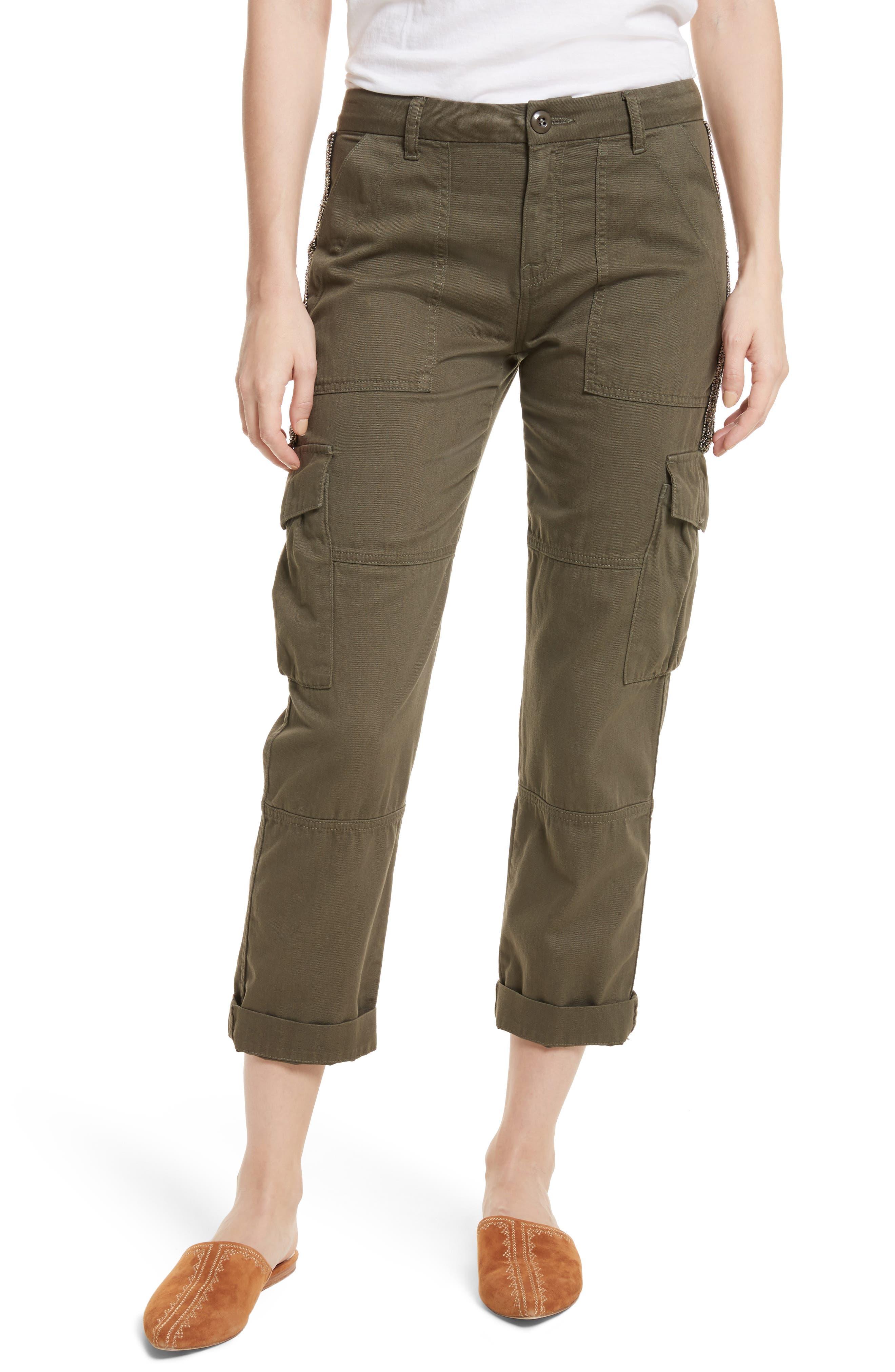 Embellished Cargo Pants,                         Main,                         color, Fatigue