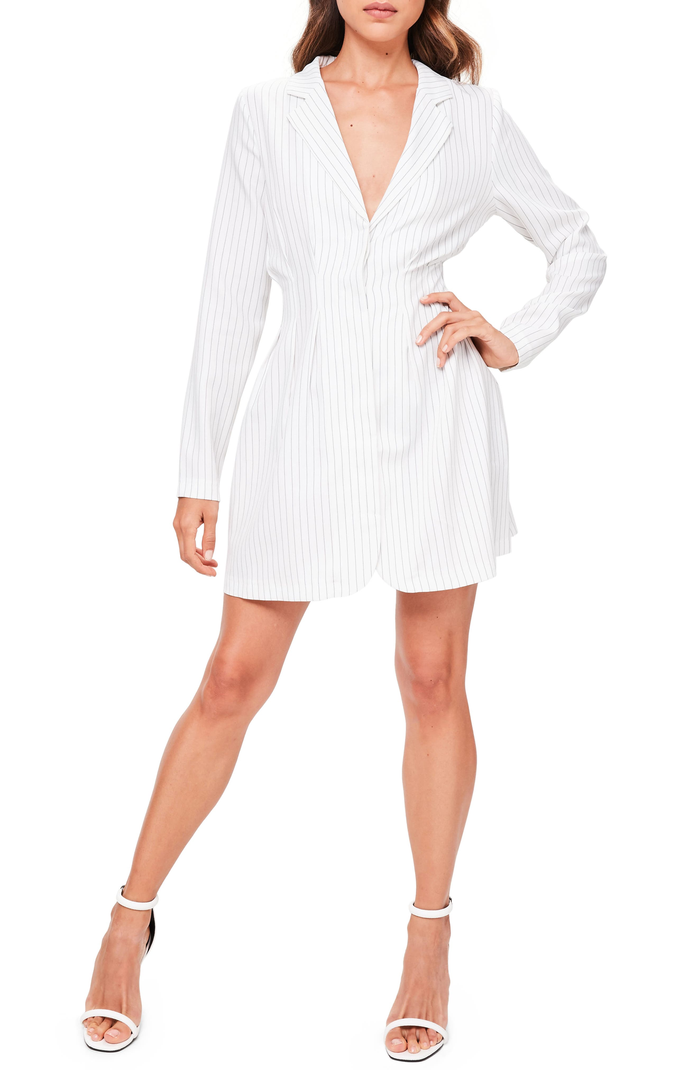 Pinstripe Blazer Dress,                         Main,                         color, White