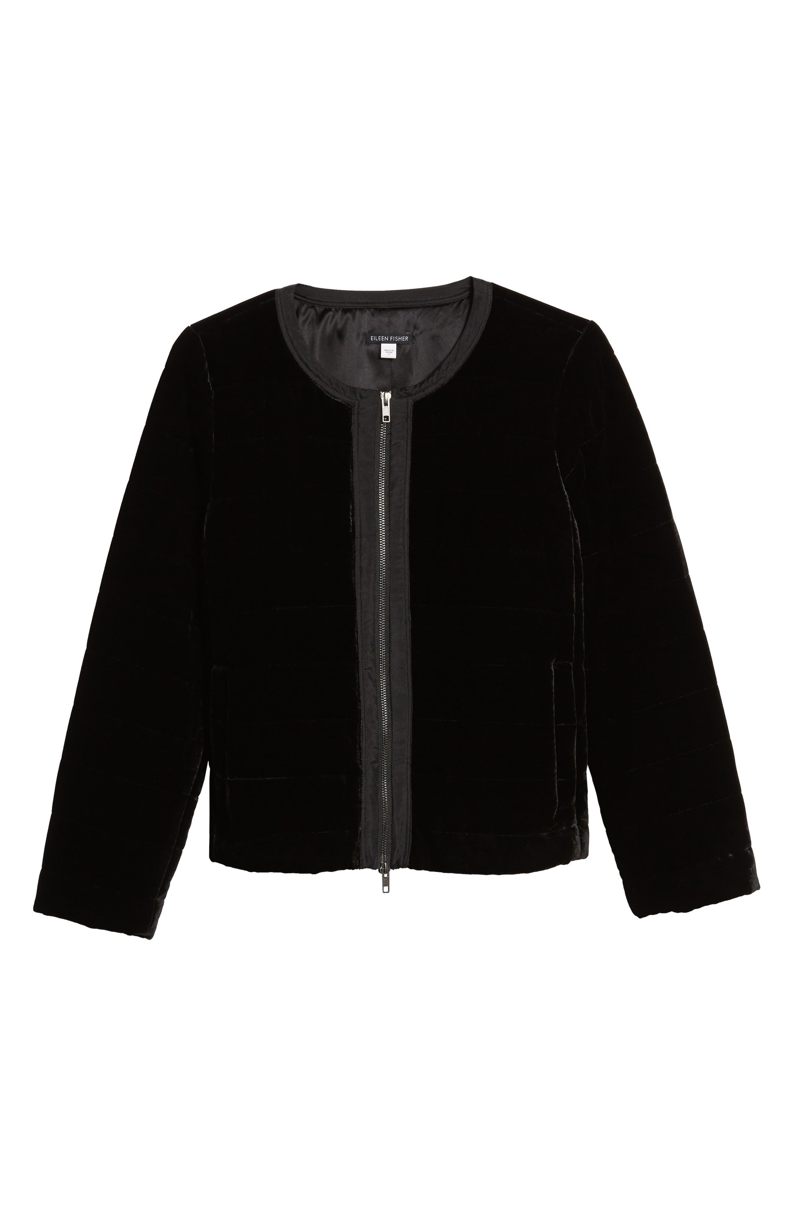 Quilted Velvet Jacket,                             Alternate thumbnail 6, color,                             Black