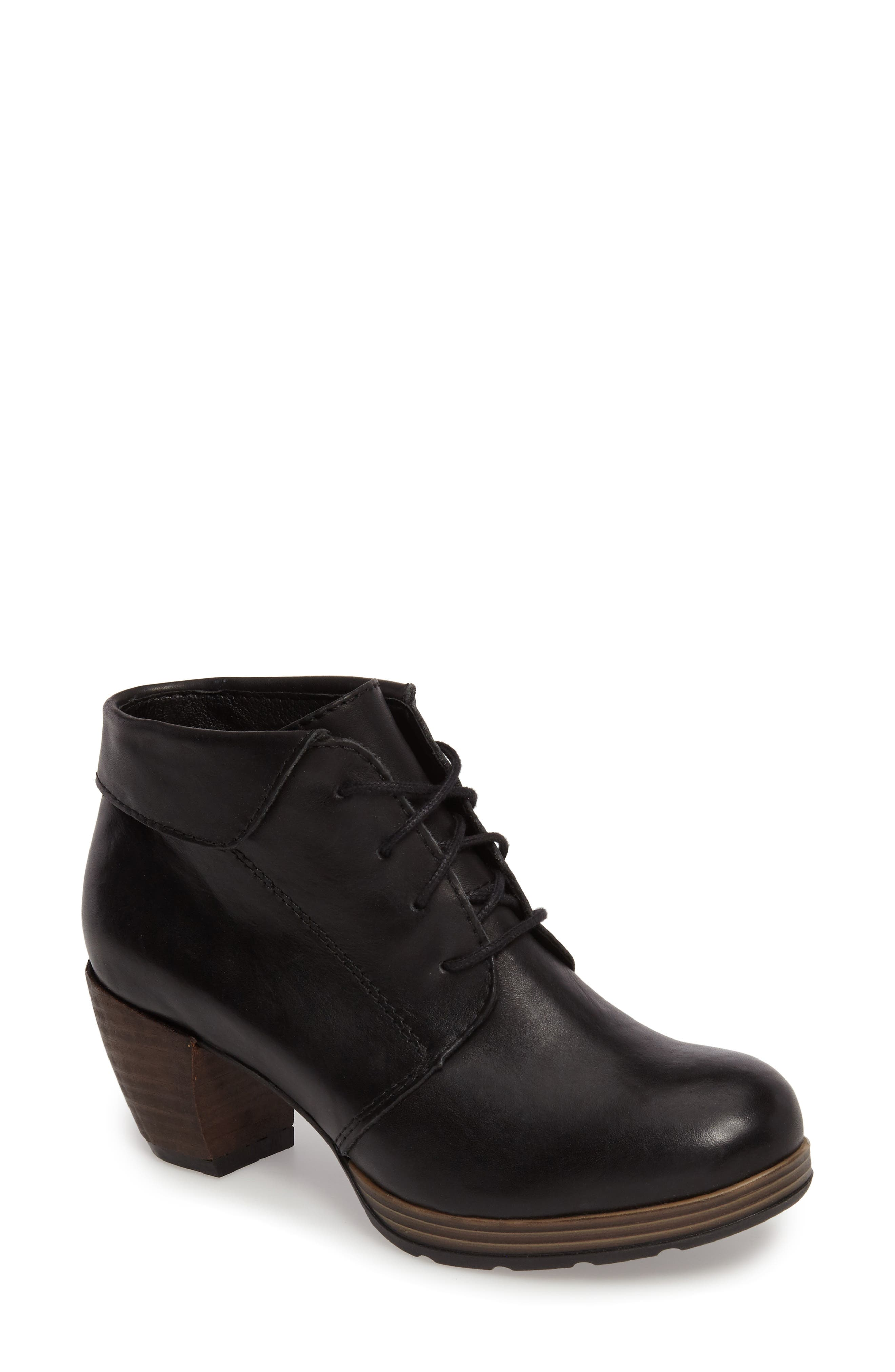 Jacquerie Lace-Up Bootie,                             Main thumbnail 1, color,                             Black Leather