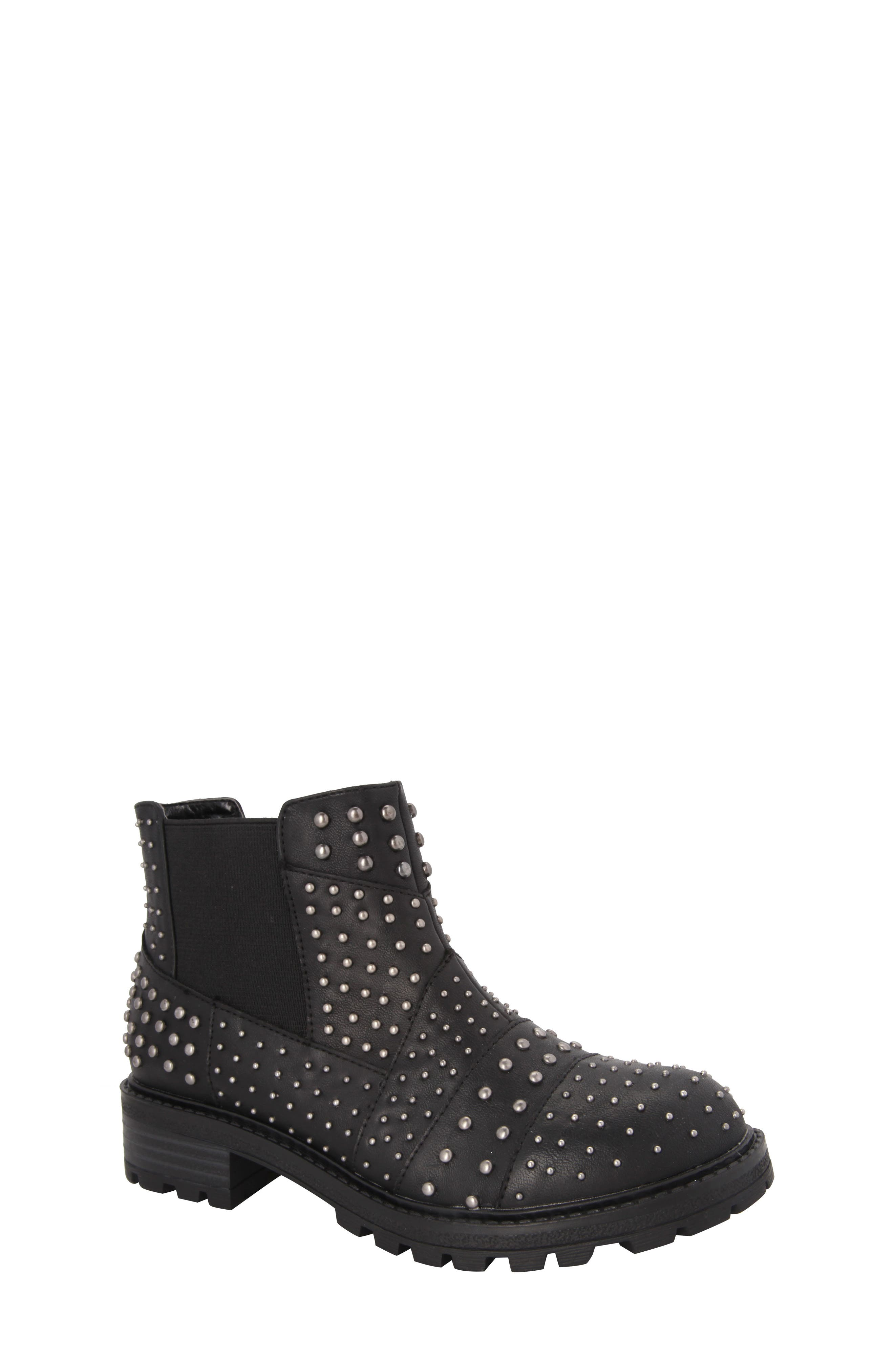 Dexy Studded Boot,                         Main,                         color, Black Tumbled Leather