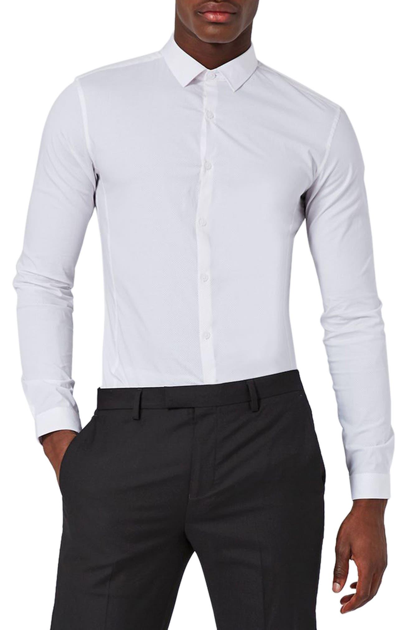 Muscle Fit Polka Dot Shirt,                             Main thumbnail 1, color,                             White