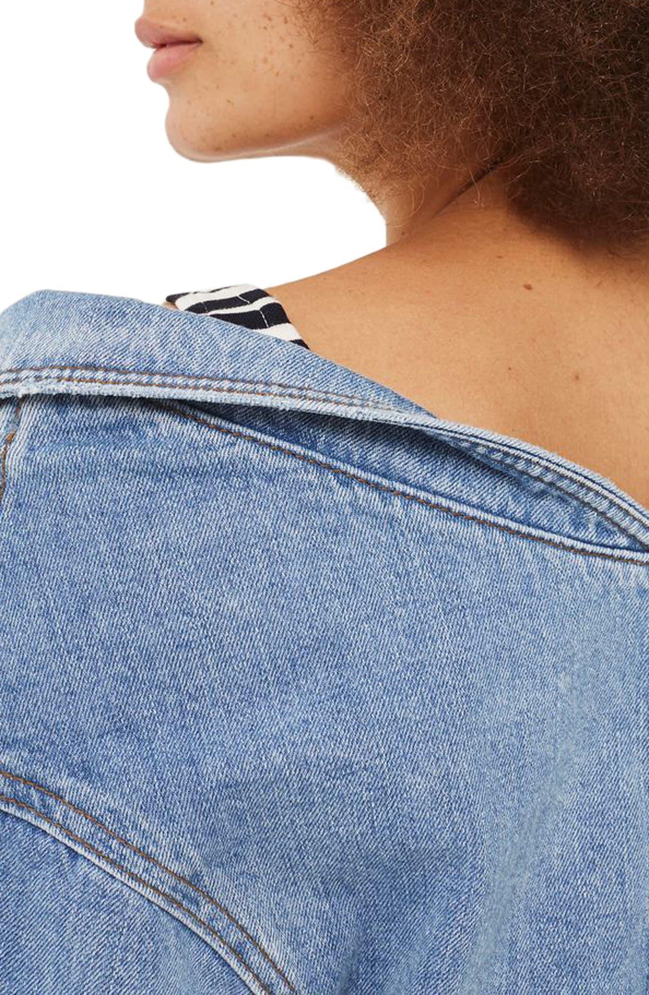 Alternate Image 3  - Topshop Off the Shoulder Denim Jacket
