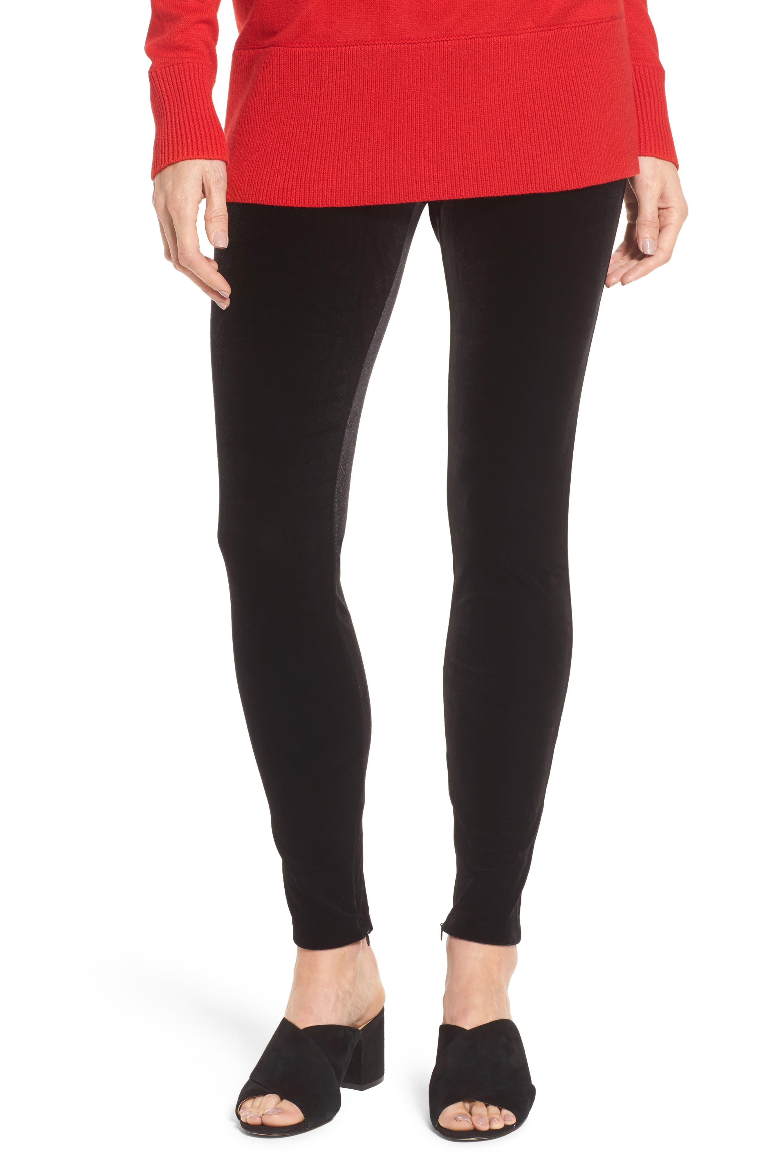 Velvet Leggings,                         Main,                         color, Rich Black