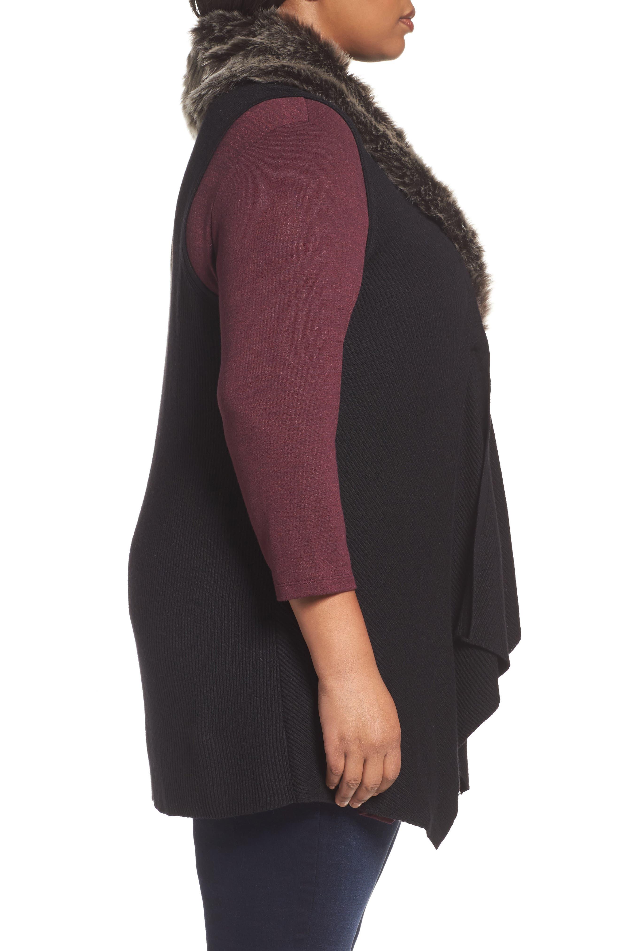 Detachable Faux Fur Trim Vest,                             Alternate thumbnail 3, color,                             Black