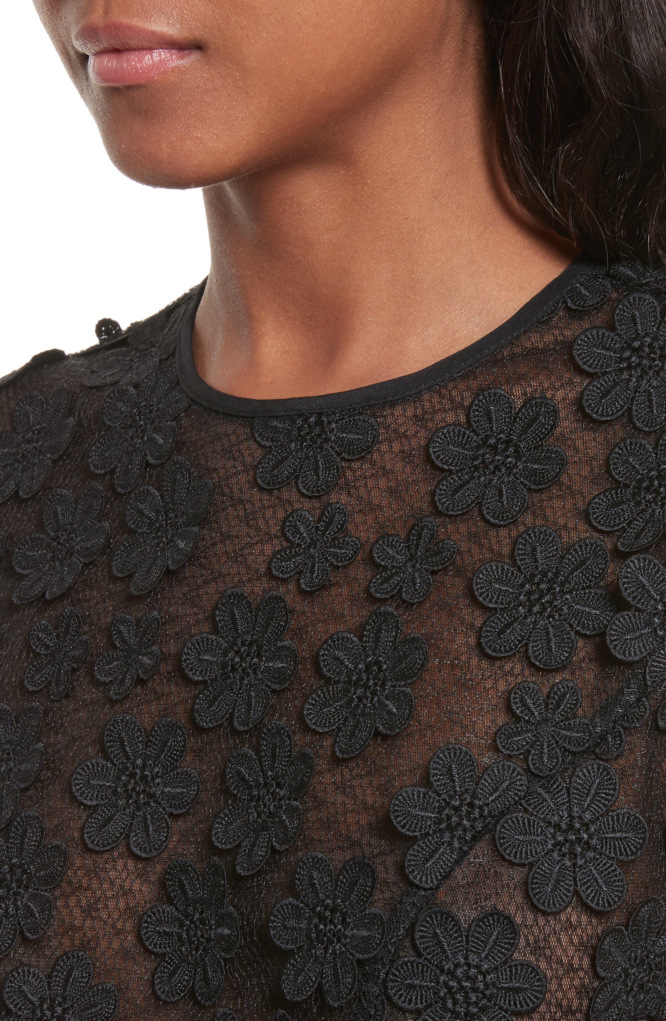 Irena Floral Appliqué Top,                             Alternate thumbnail 4, color,                             Black