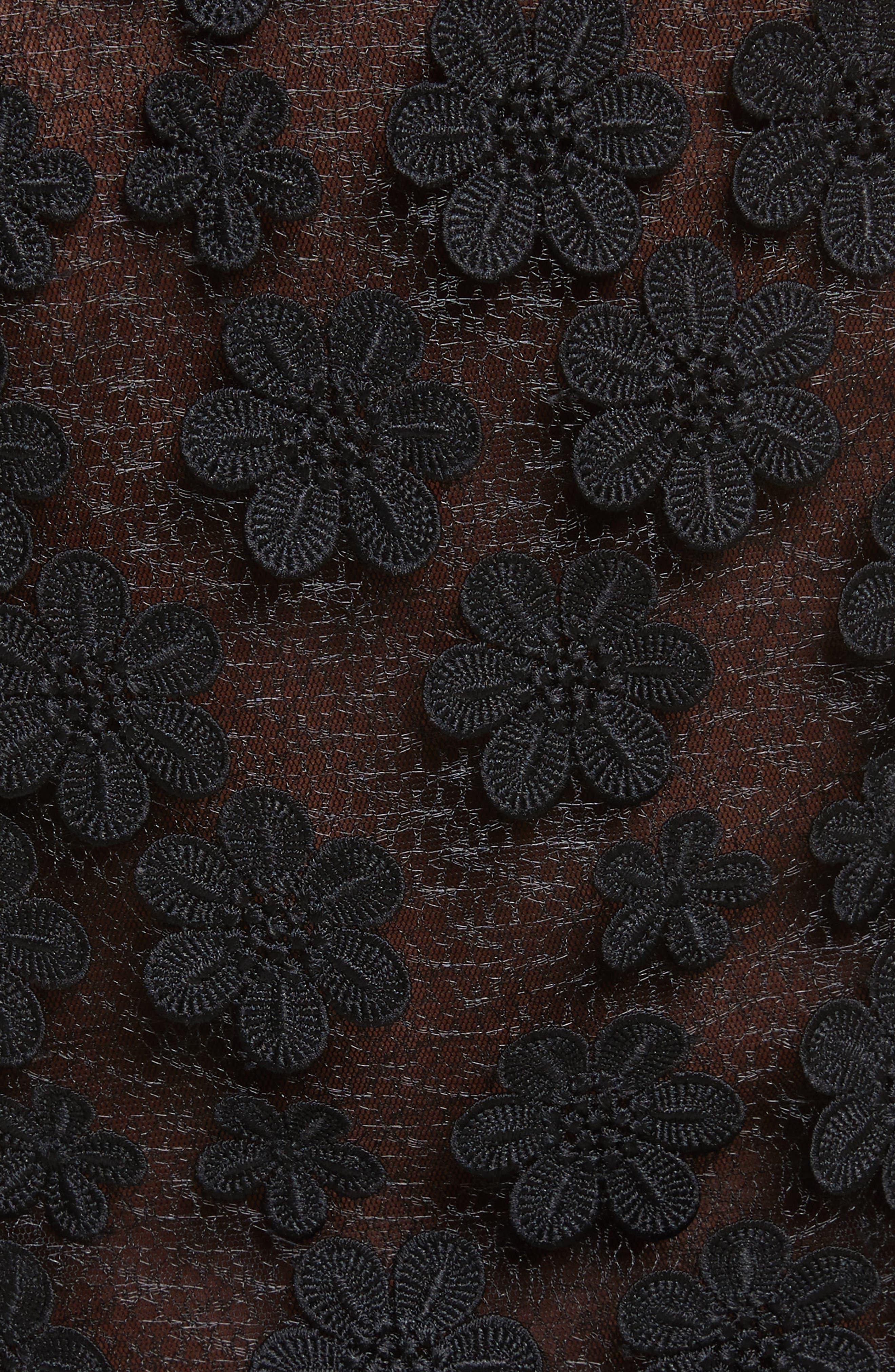 Irena Floral Appliqué Top,                             Alternate thumbnail 5, color,                             Black