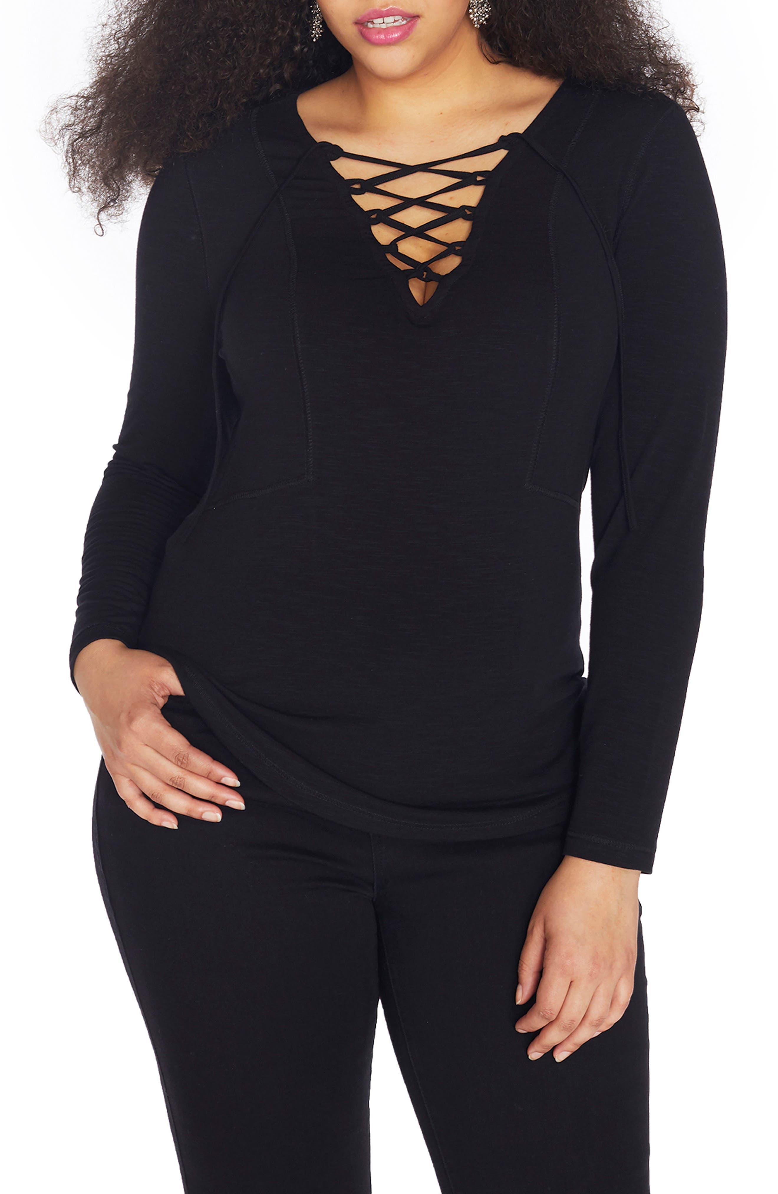 Lace-Up Slub Jersey Top,                             Main thumbnail 1, color,                             Black Beauty