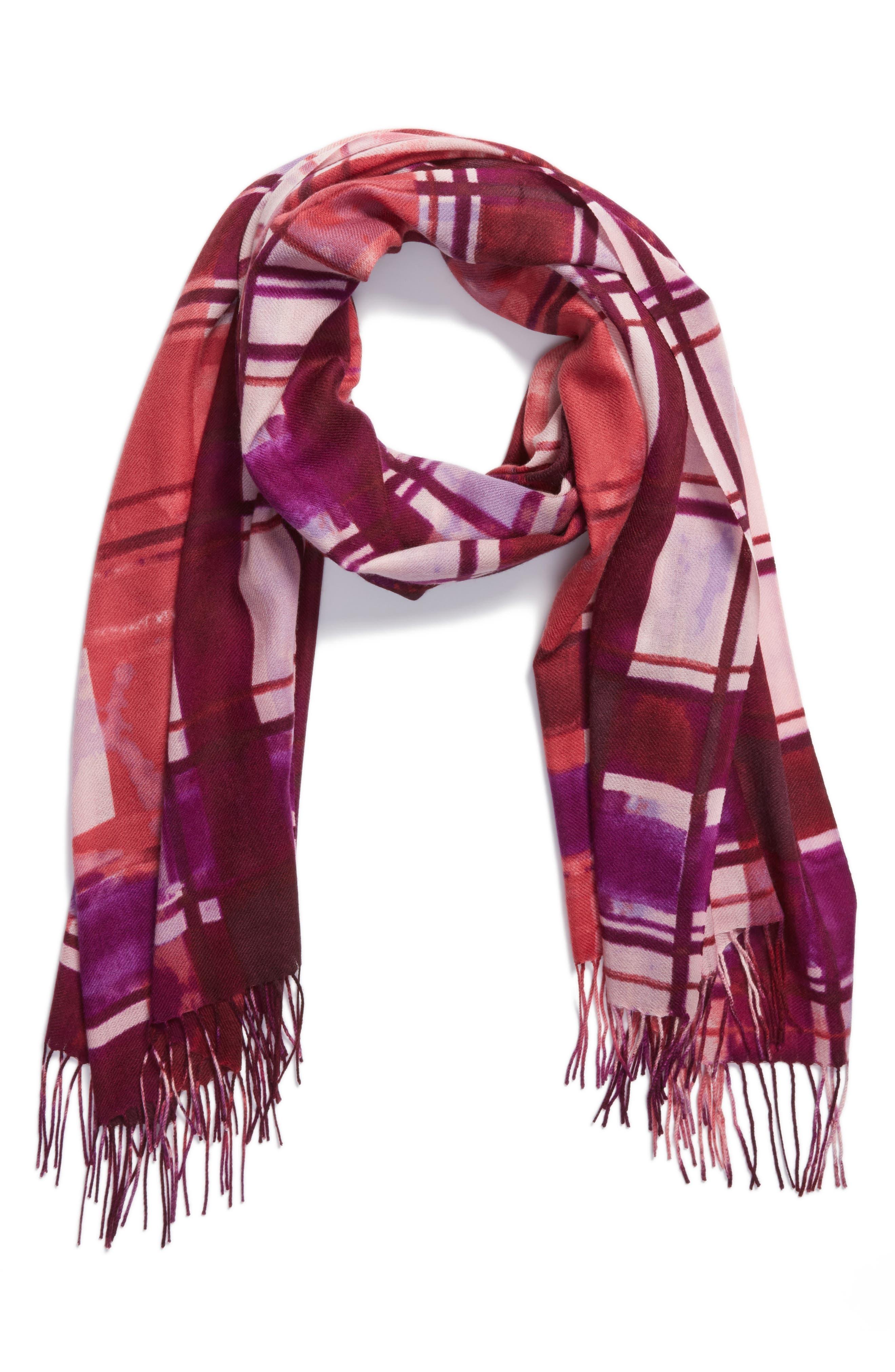 Alternate Image 3  - Nordstrom Handicraft Plaid Tissue Weight Wool & Cashmere Scarf