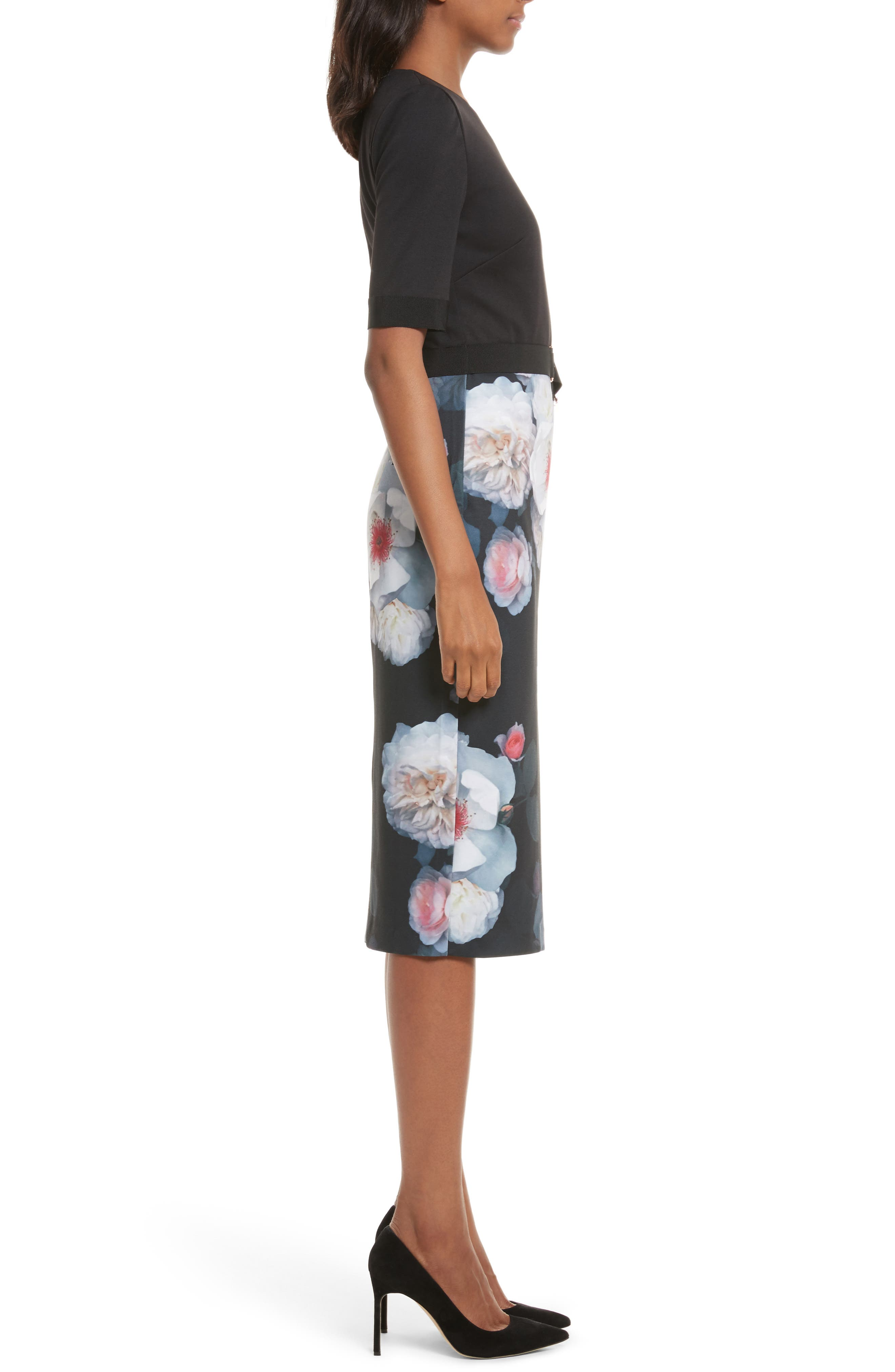 Maason Chelseas Floral Body-Con Dress,                             Alternate thumbnail 3, color,                             Black