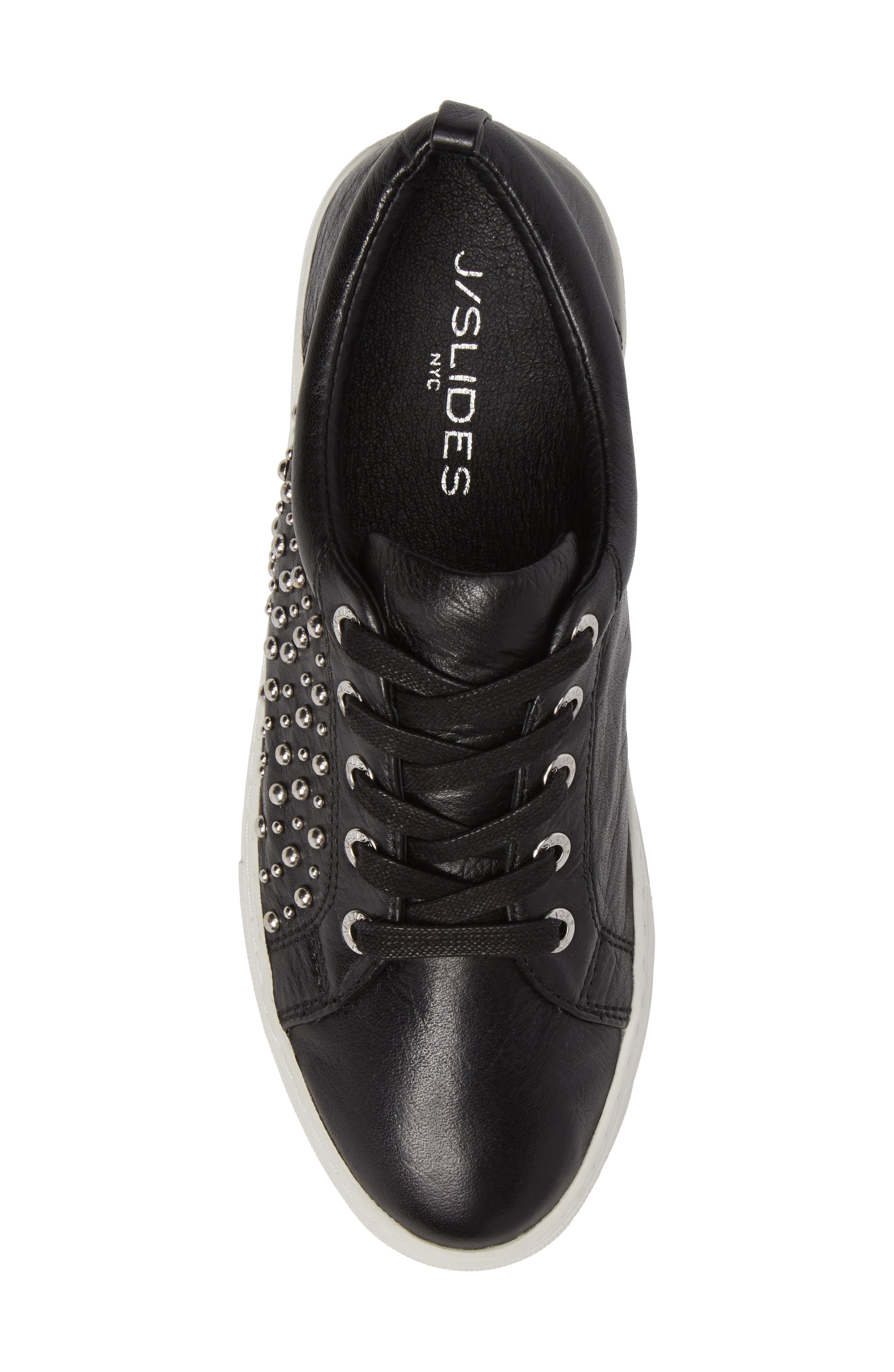 Ambrosia Studded Lace-Up Sneaker,                             Alternate thumbnail 5, color,                             Black Leather