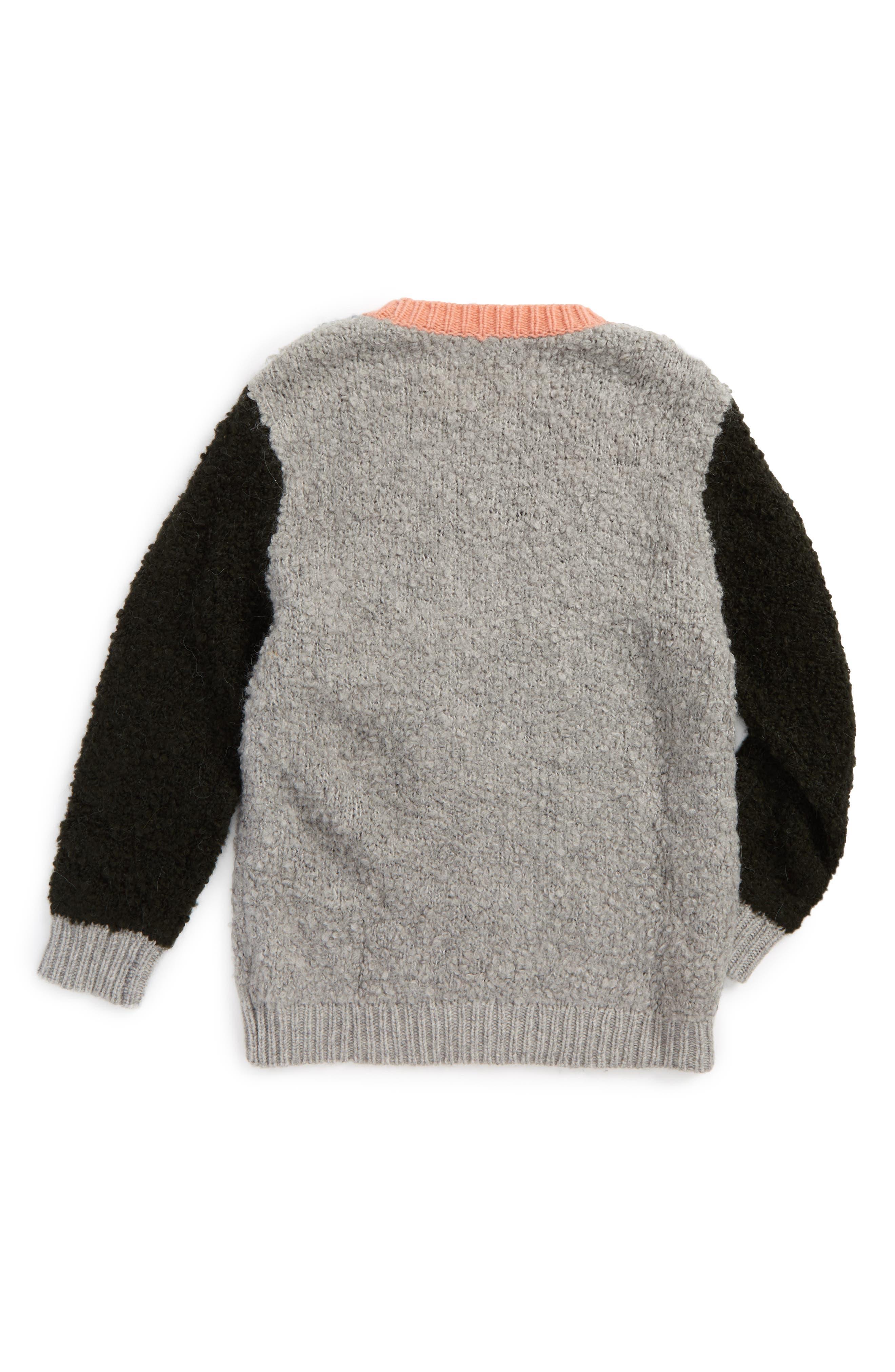 Kids Maya Colorblock Sweater,                             Alternate thumbnail 2, color,                             Petrol