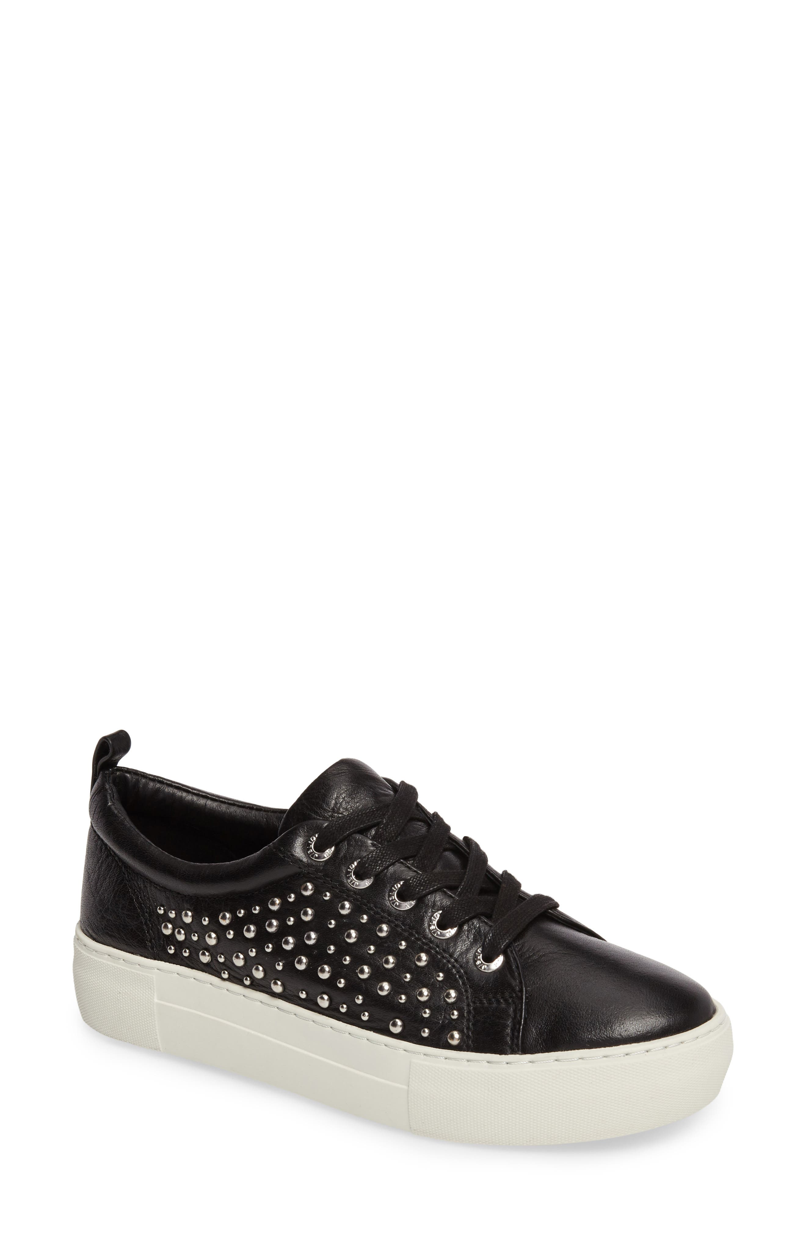 Ambrosia Studded Lace-Up Sneaker,                             Main thumbnail 1, color,                             Black Leather