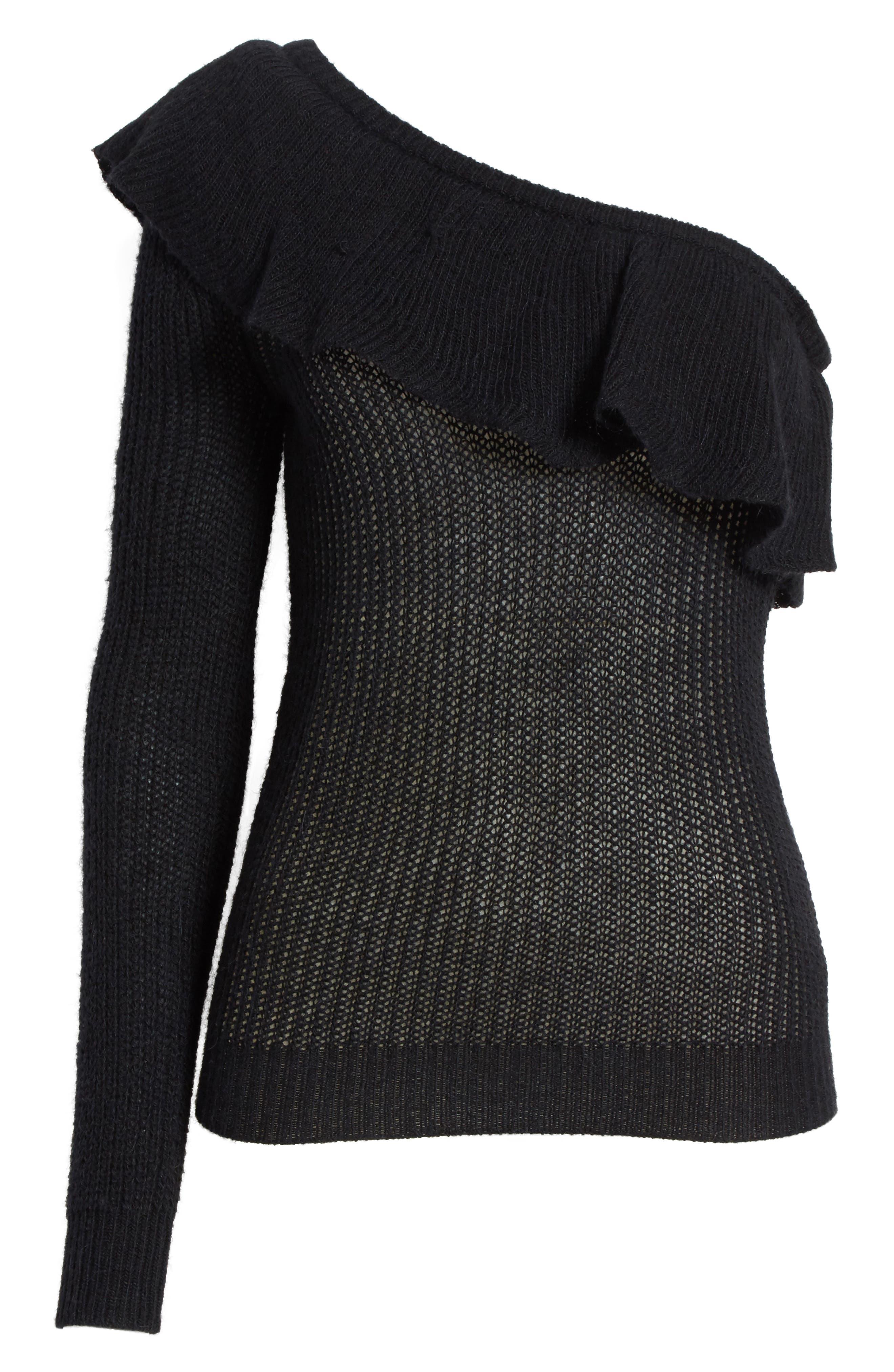 Alternate Image 6  - Rebecca Taylor One-Shoulder Ruffle Sweater
