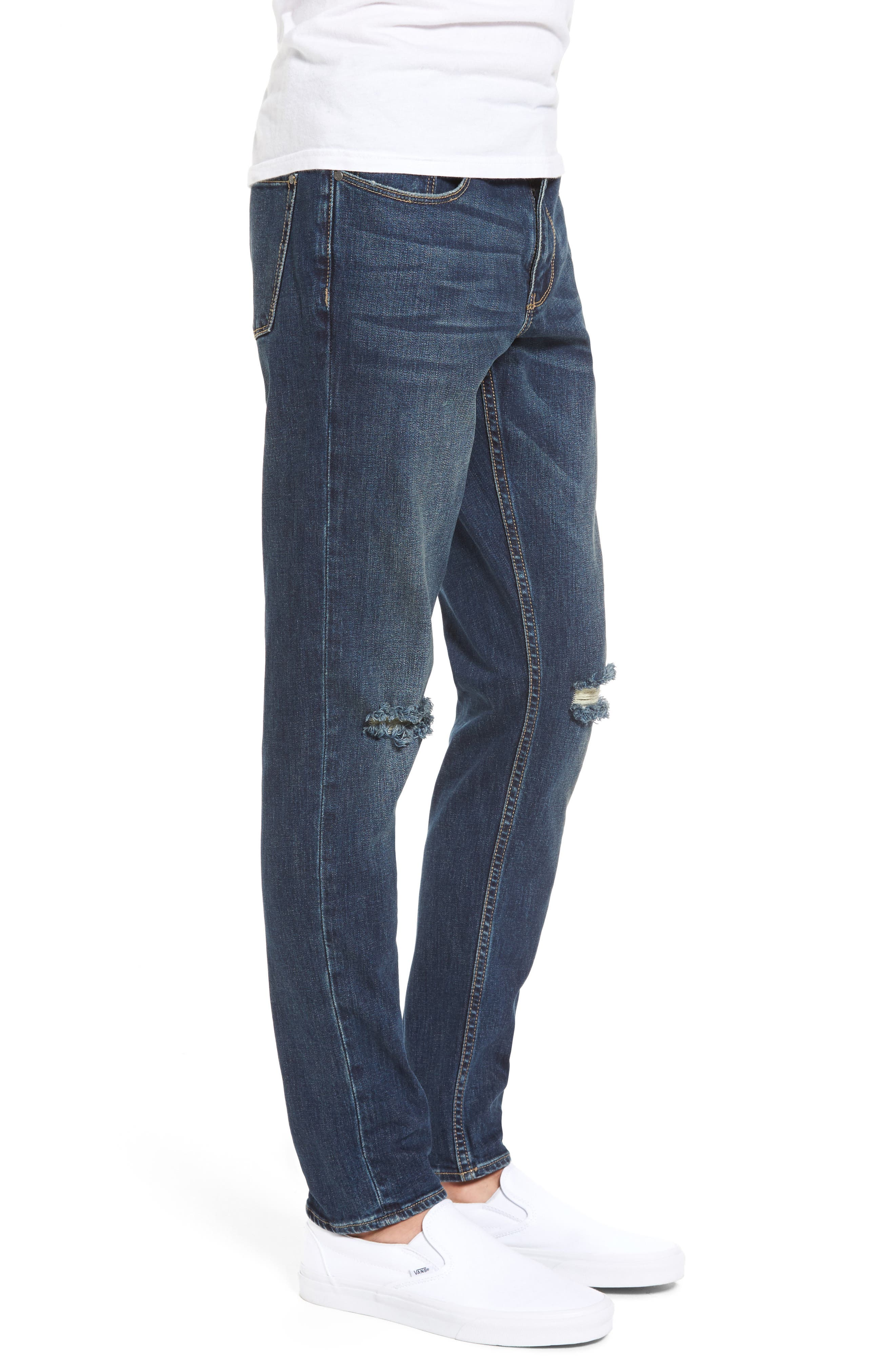 Slim Fit Destroyed Jeans,                             Alternate thumbnail 3, color,                             Blue Medium Indigo